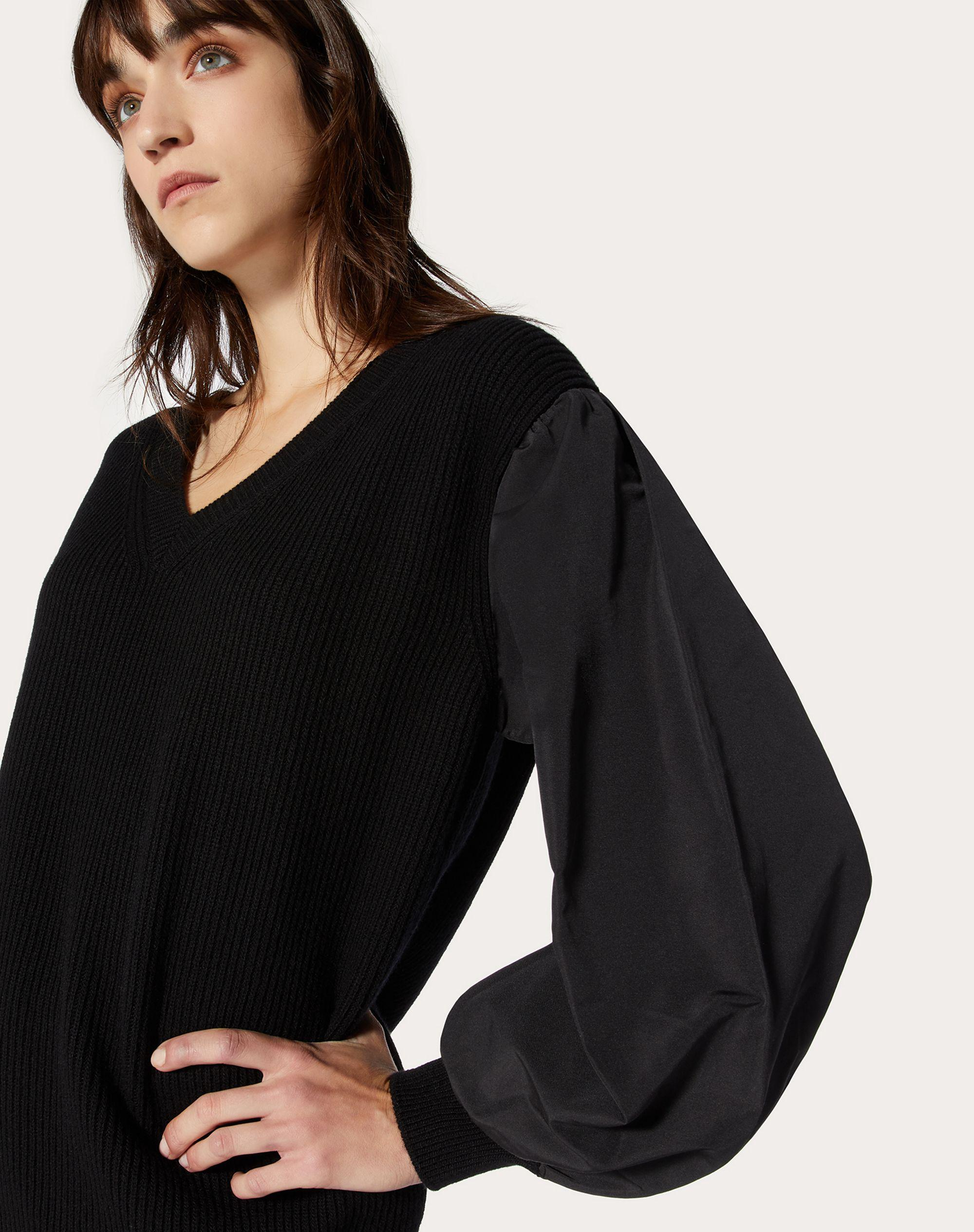 Cashmere Wool and Micro-Faille Sweater 3