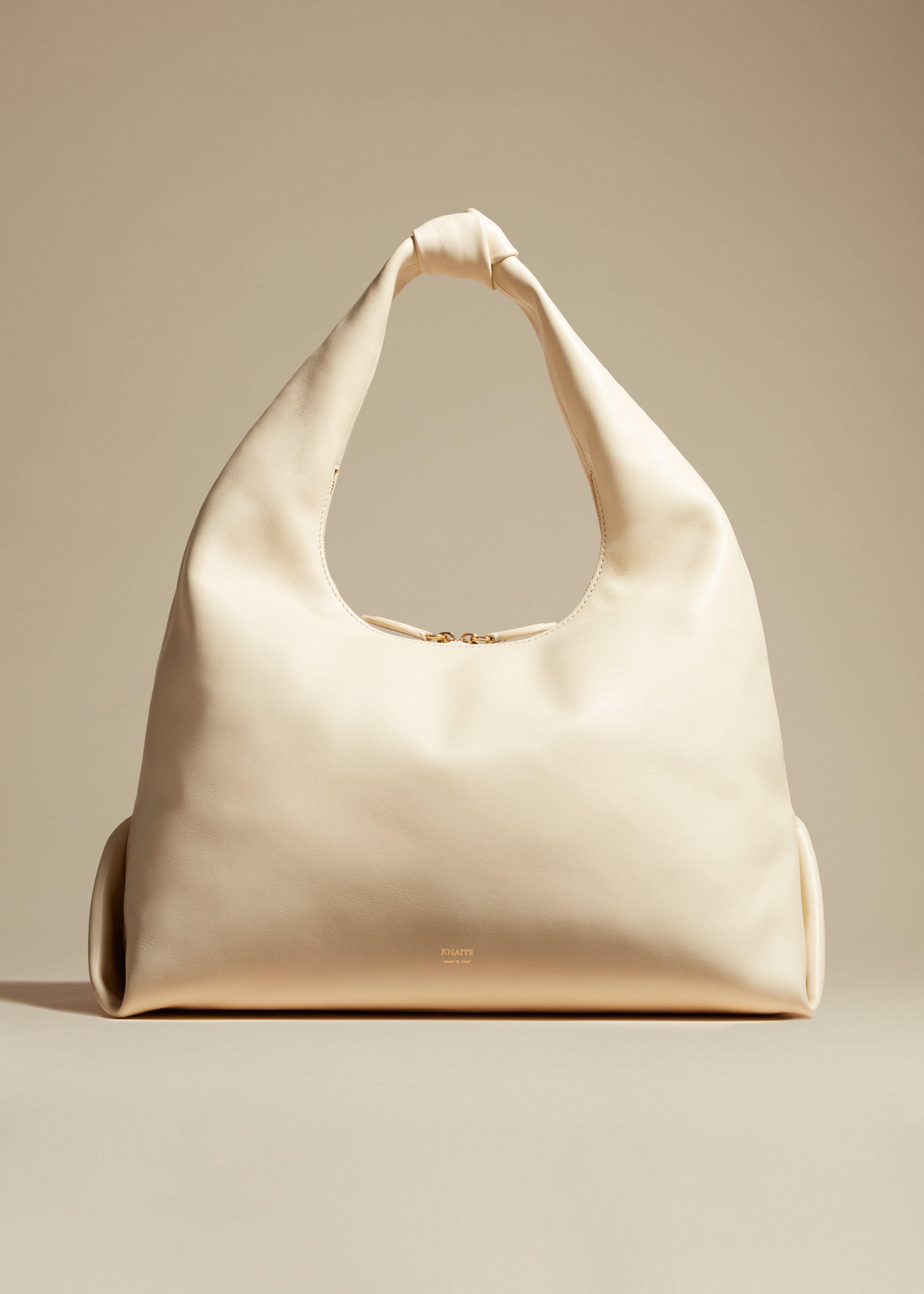 The Large Beatrice Hobo in Cream Leather