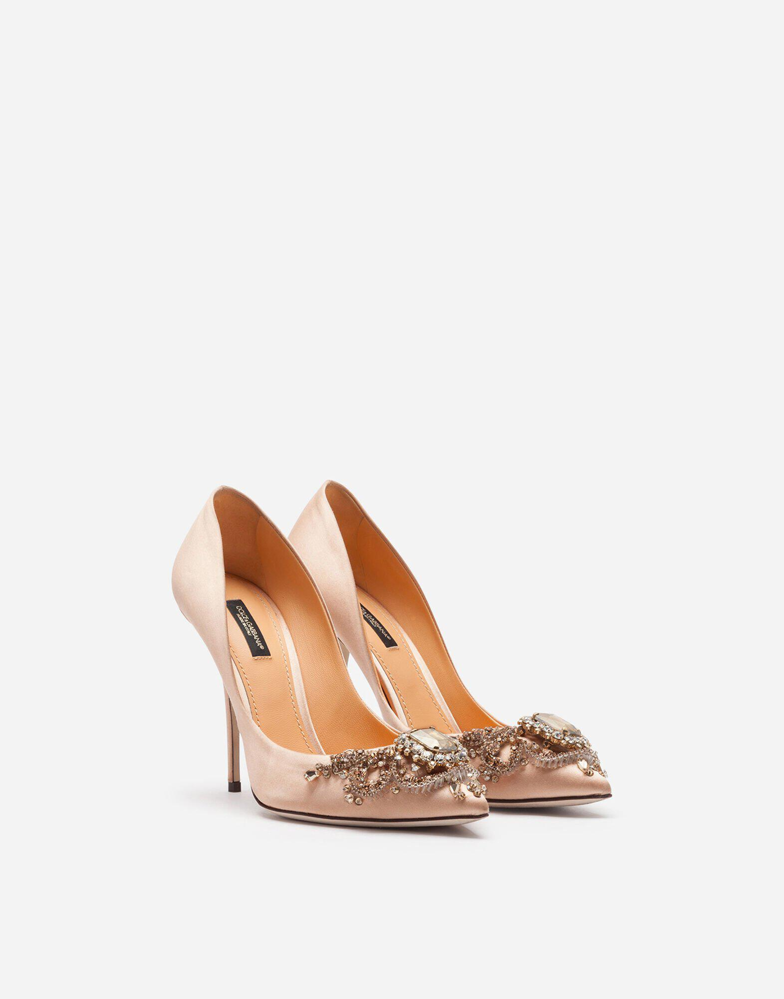 Satin pumps with bejeweled embellishment 1