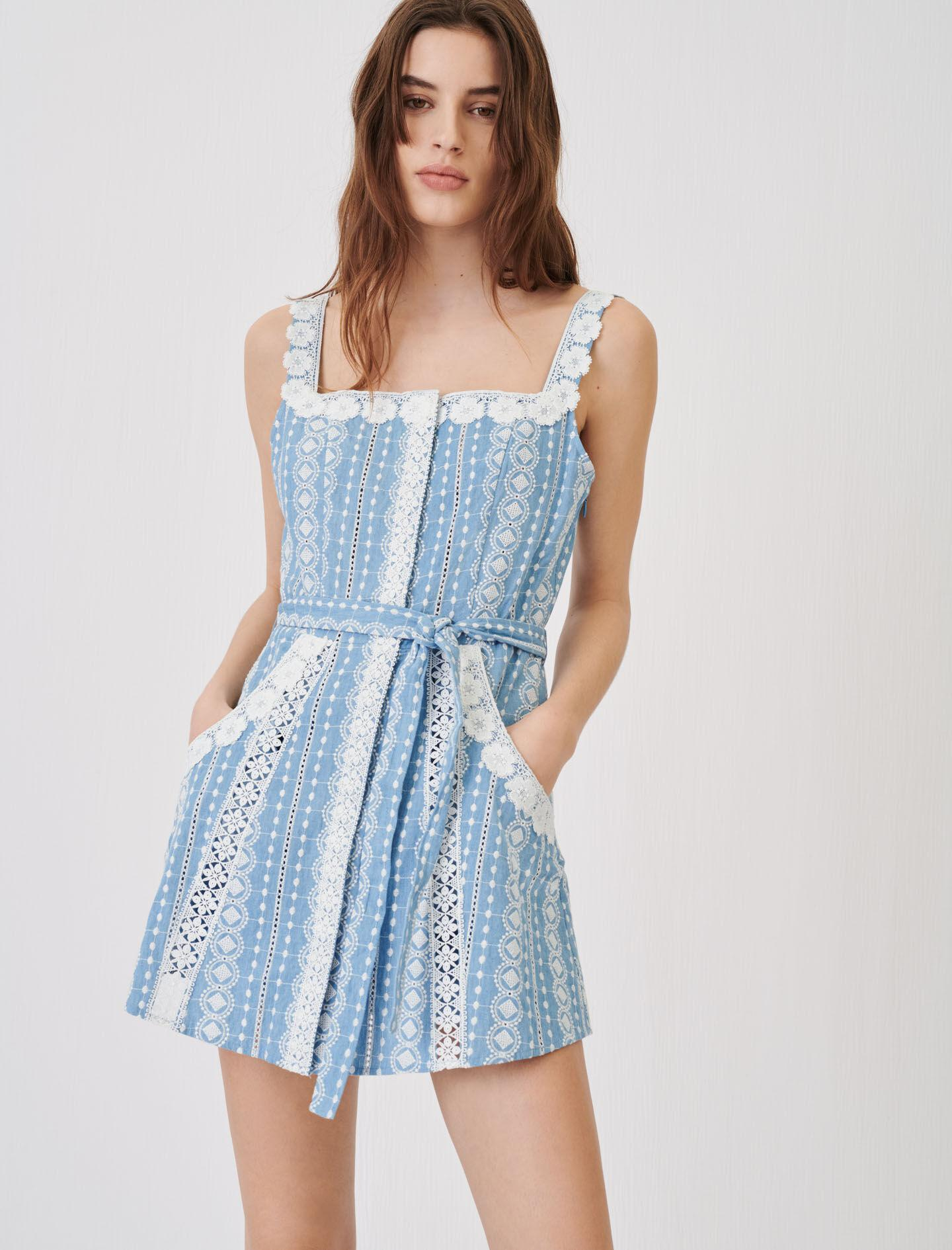 ROMPER WITH CONTRASTING TRIMS