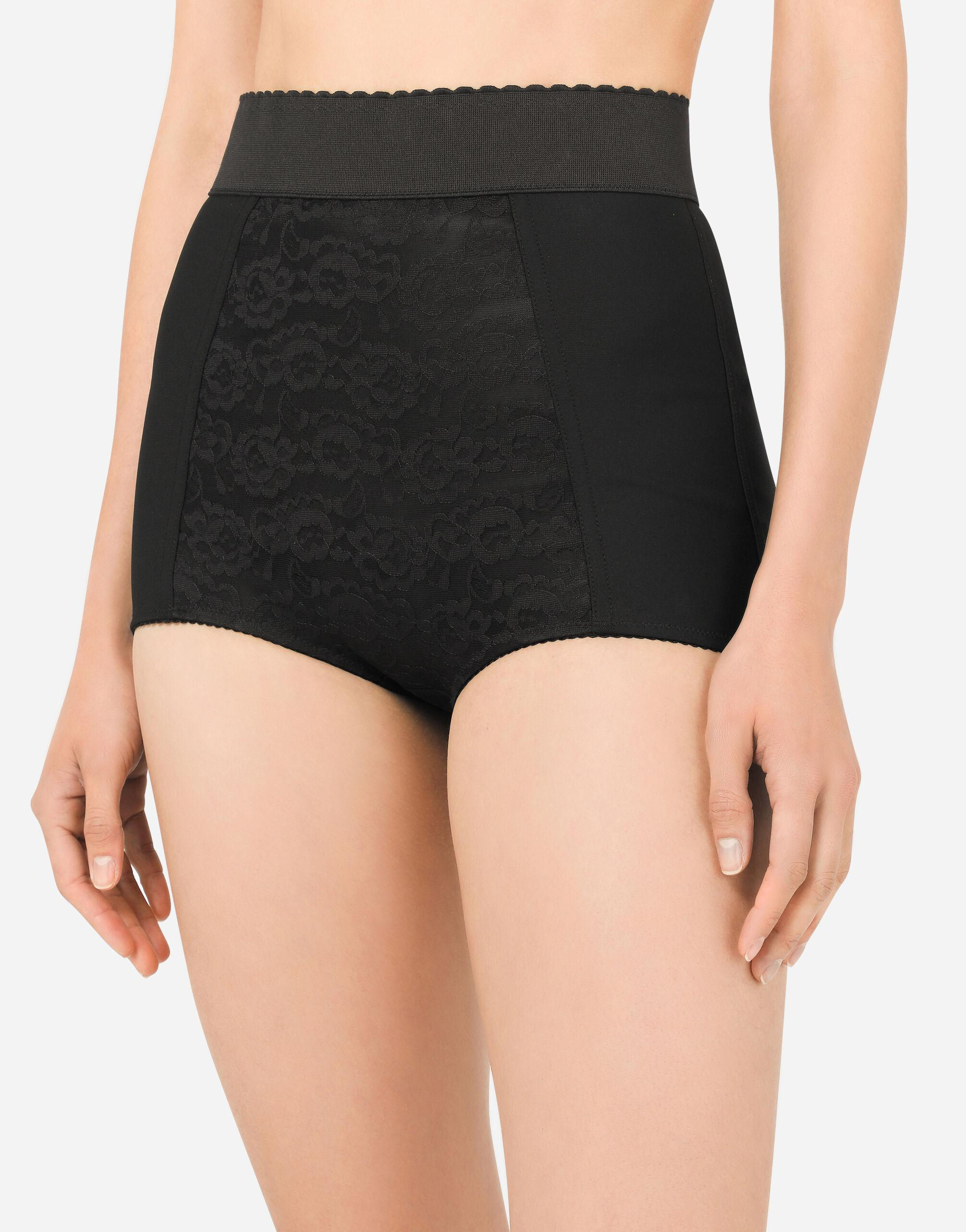 High-waisted shaper panties in jacquard and satin 2