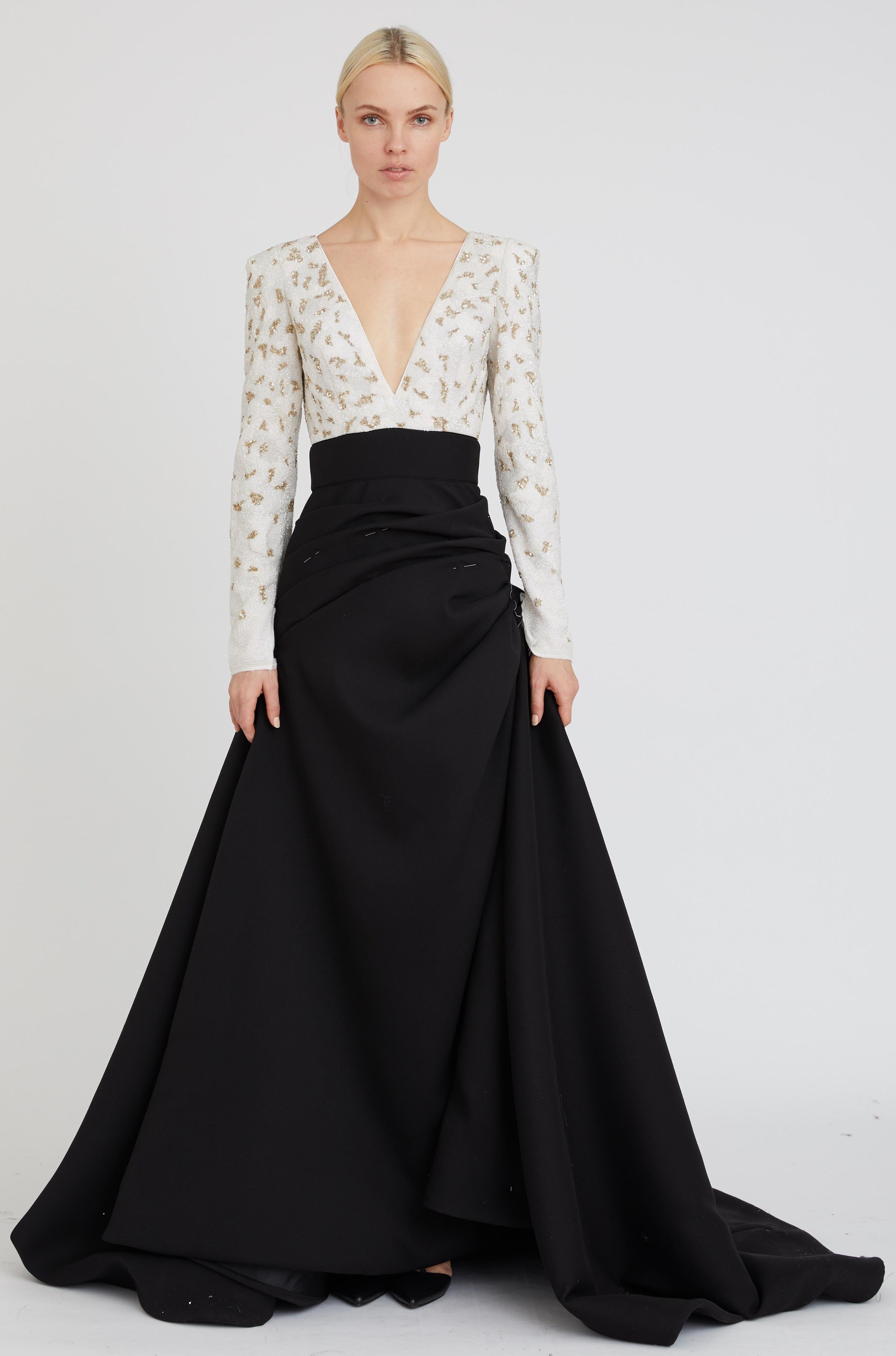 EMBROIDERED DEEP V GOWN