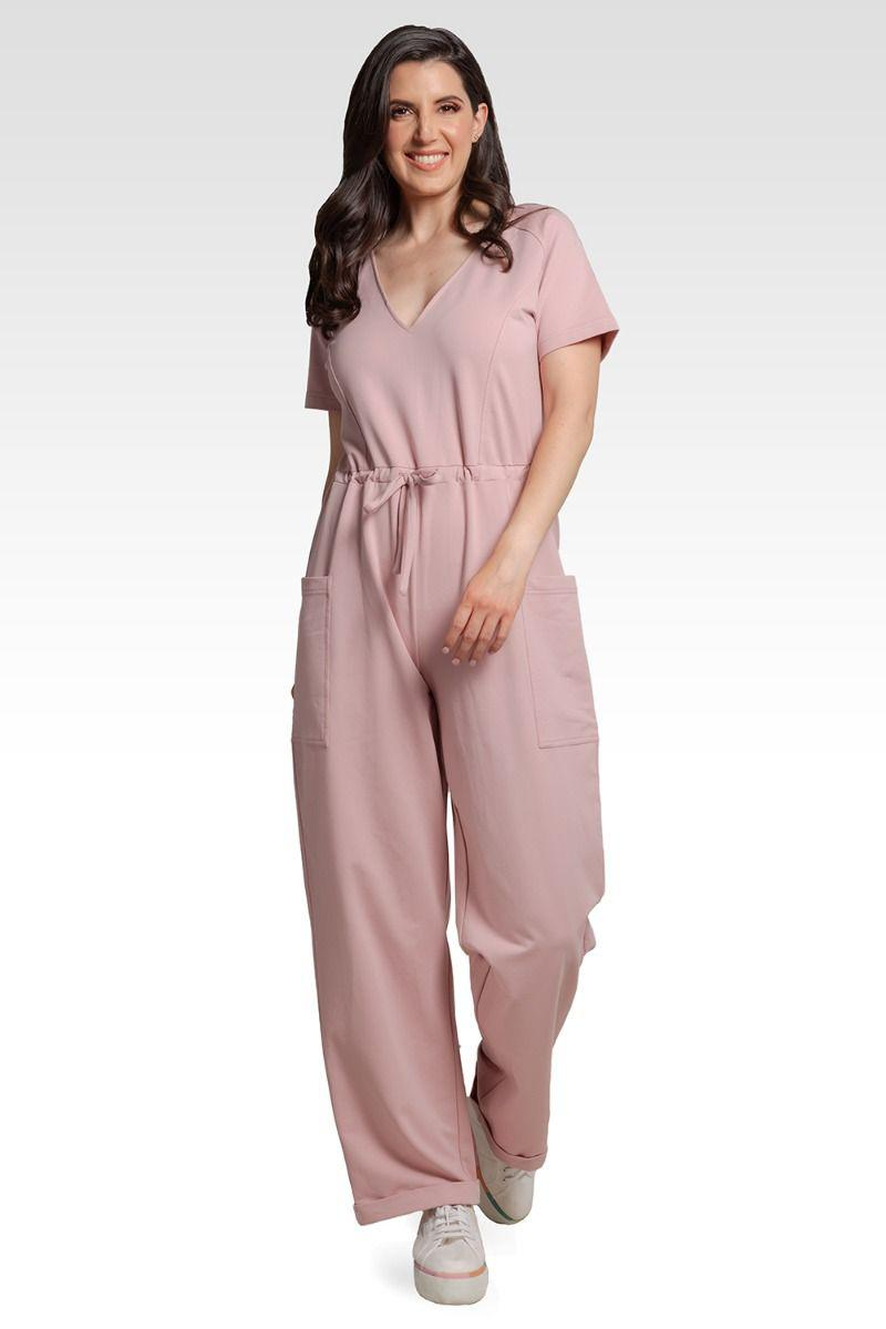 Wendy French Terry Mauve Pink Short Sleeve Sweat Lounge Jumpsuit