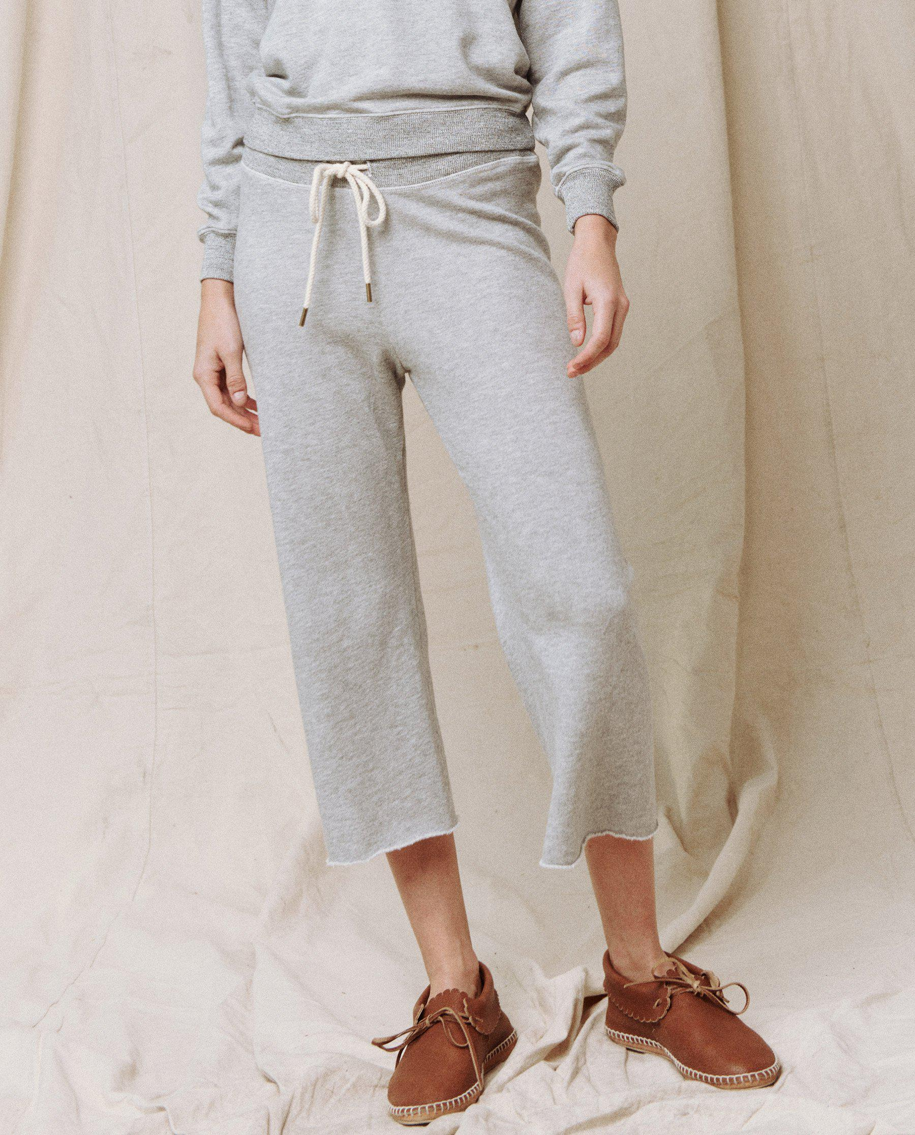The Wide Leg Cropped Sweatpant. -- LIGHT HEATHER GREY 1