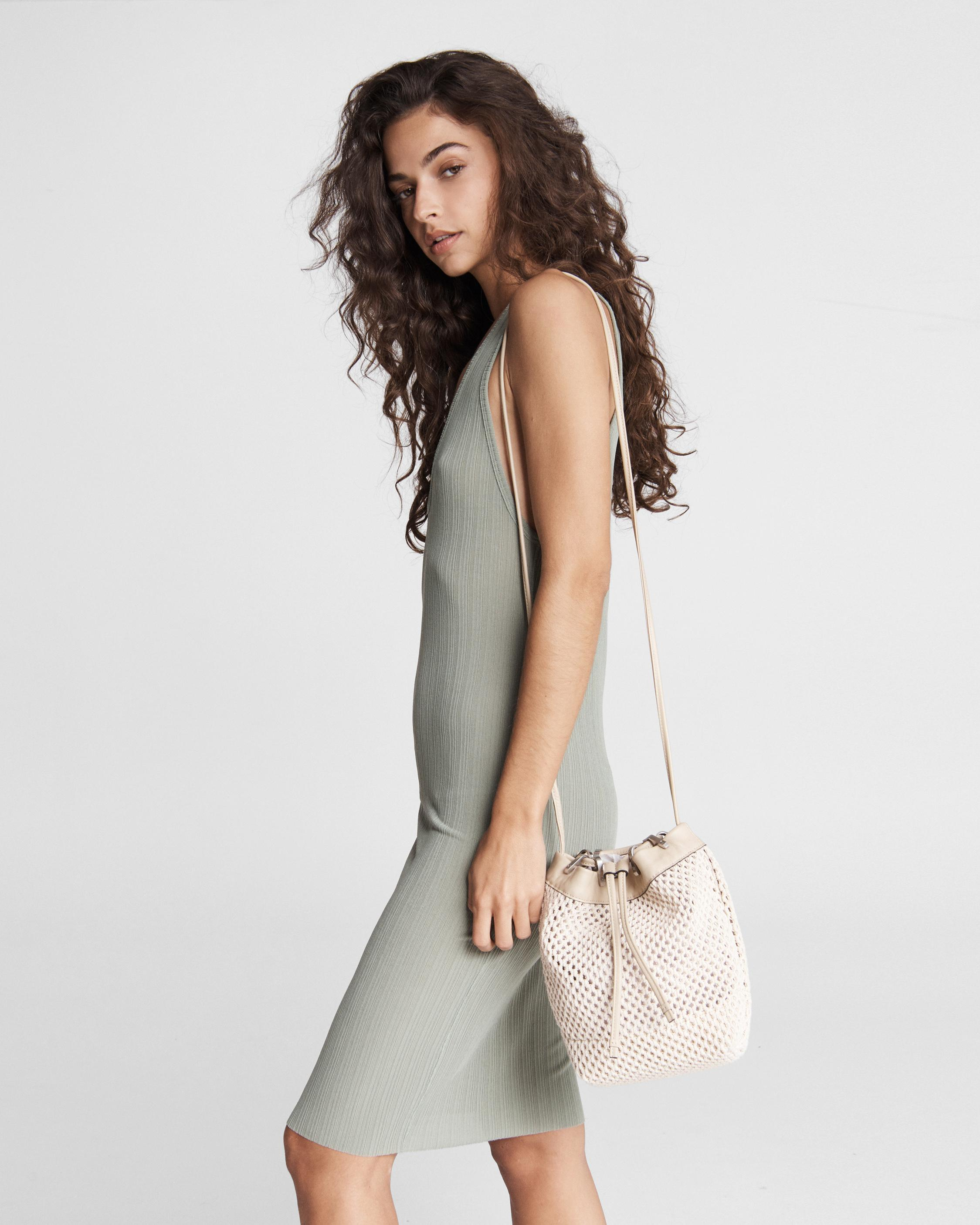 Summer dayton drawstring bag - leather and recycled materials 3