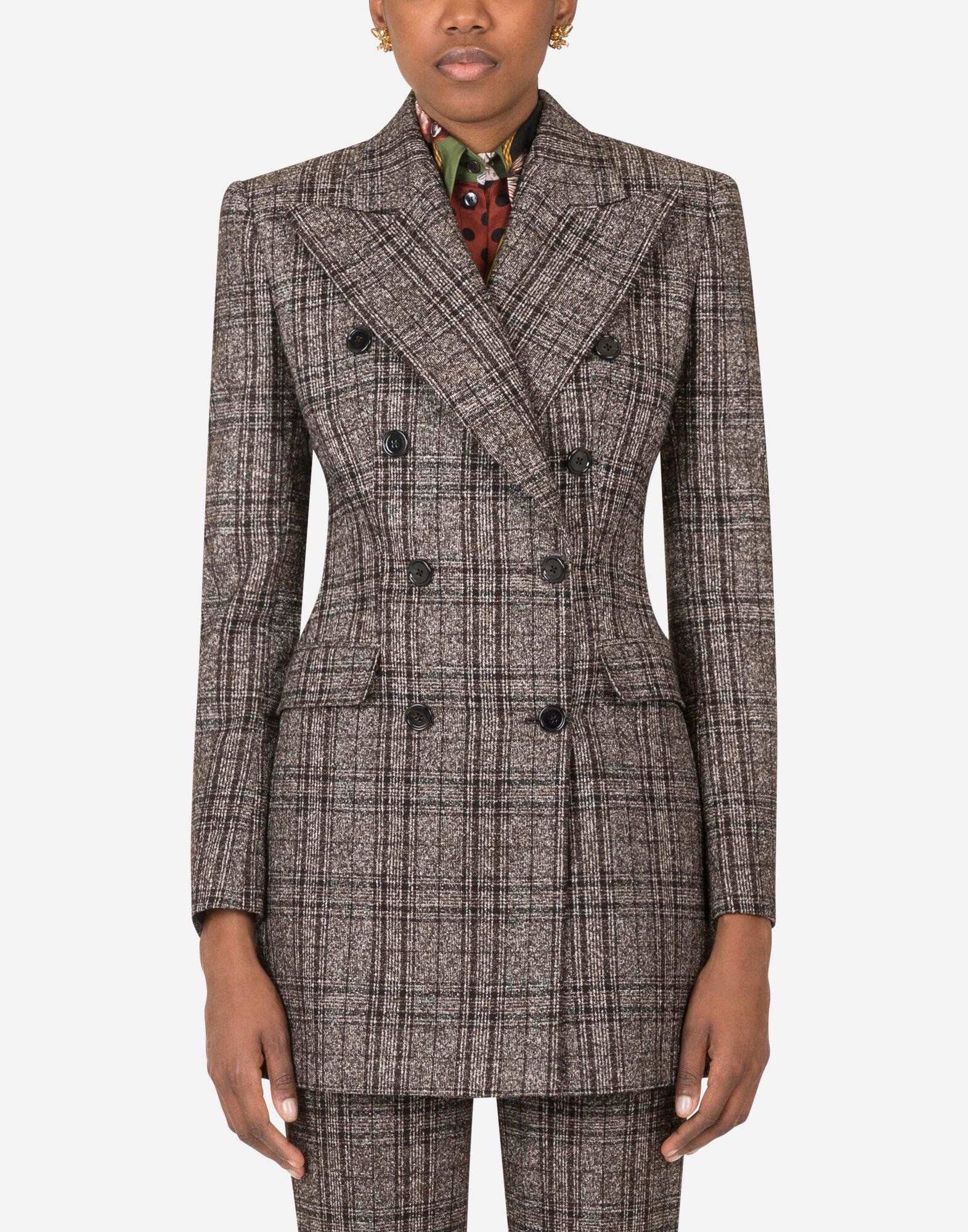 Double-breasted jacket in checked tartan 0