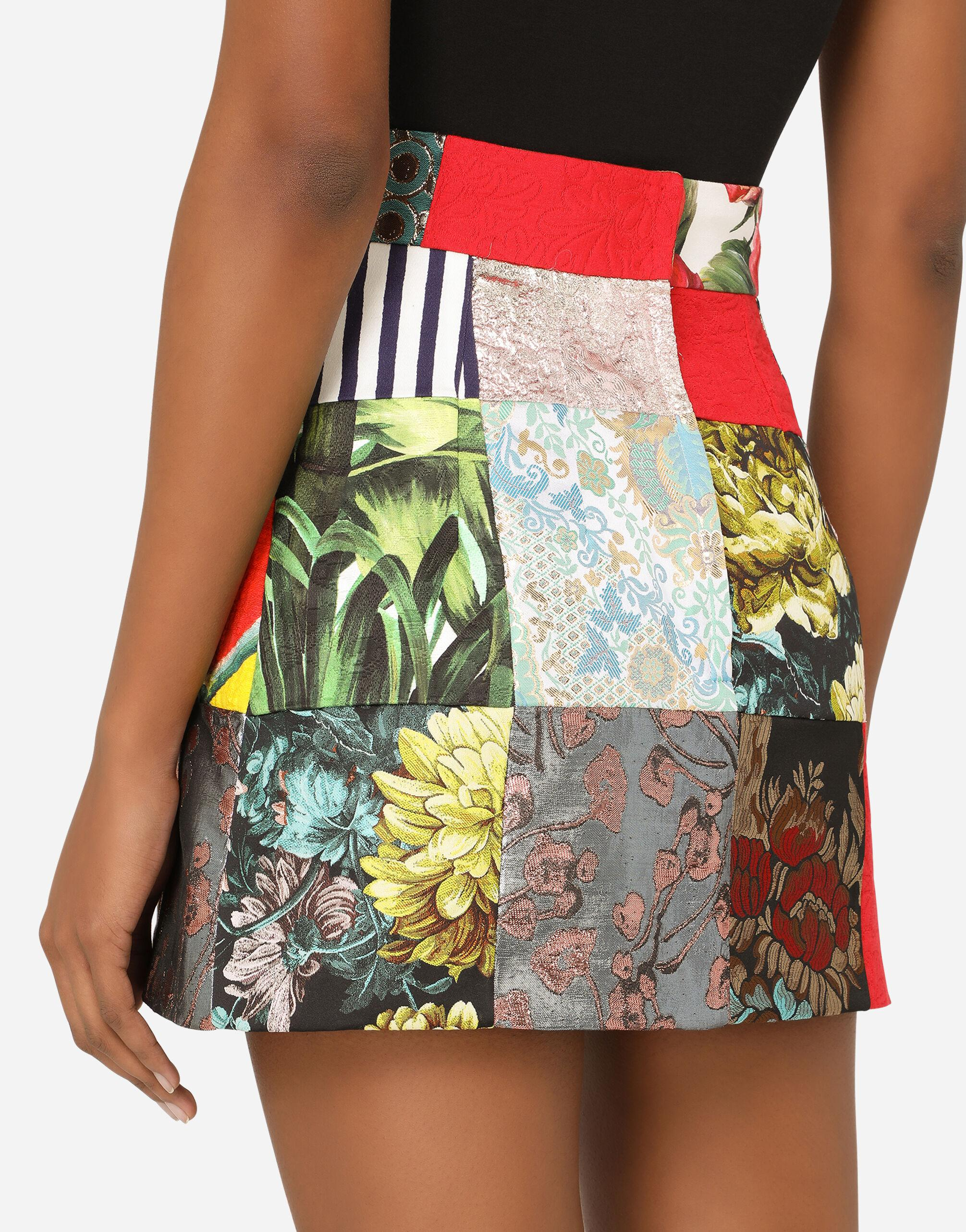 Patchwork jacquard miniskirt with bejeweled buttons 3