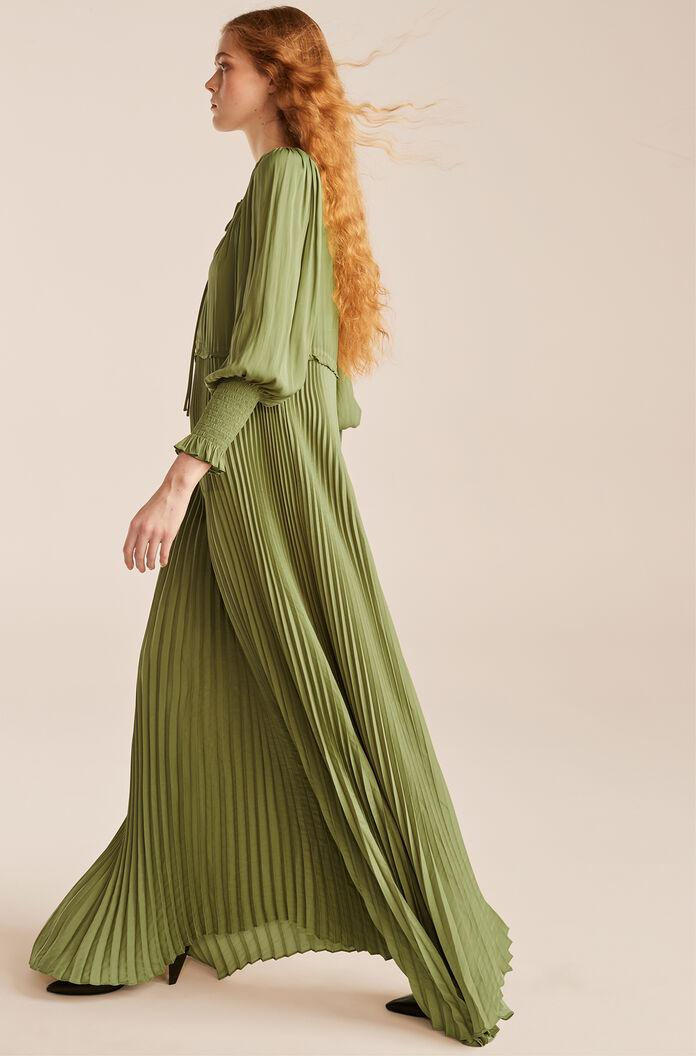 TIE FRONT PLEATED DRESS 2