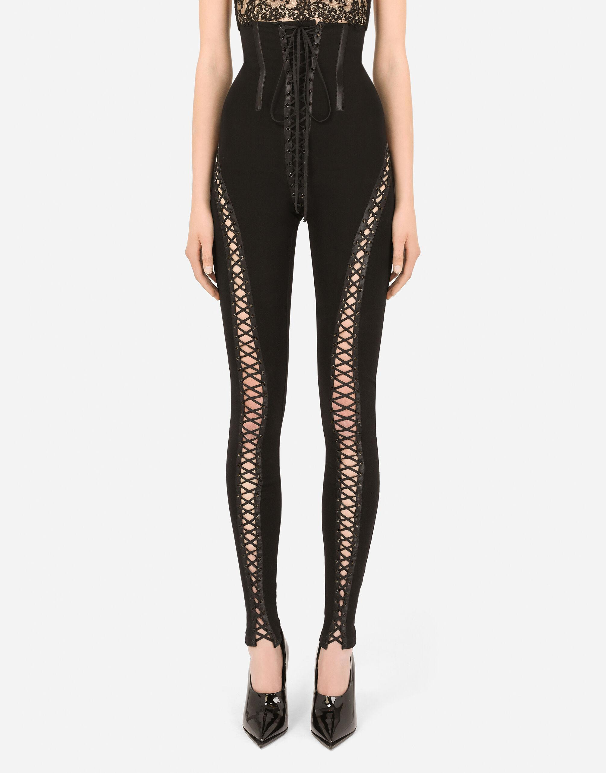 High-waisted viscose leggings with laces