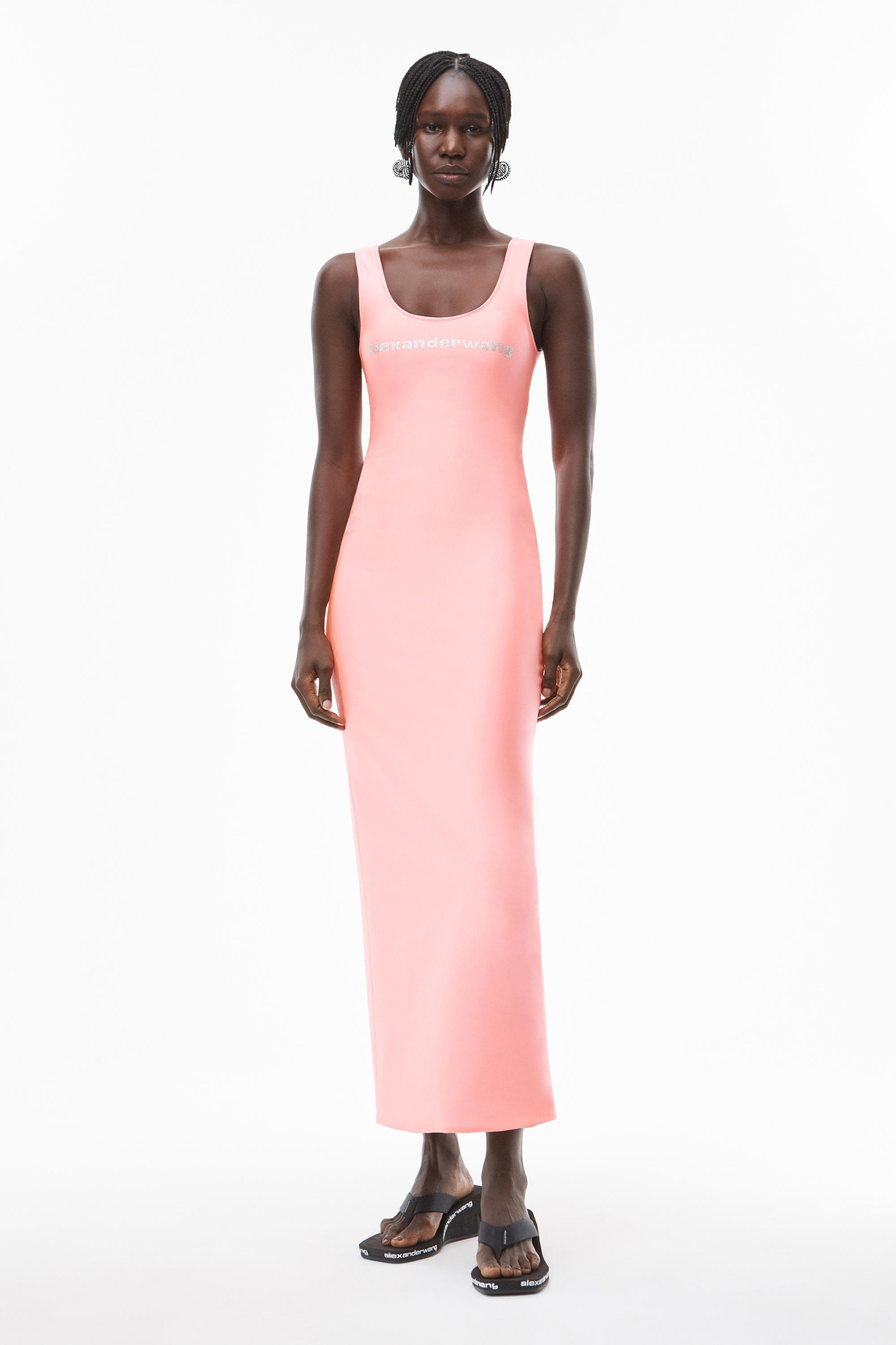 crystal logo gown in active stretch