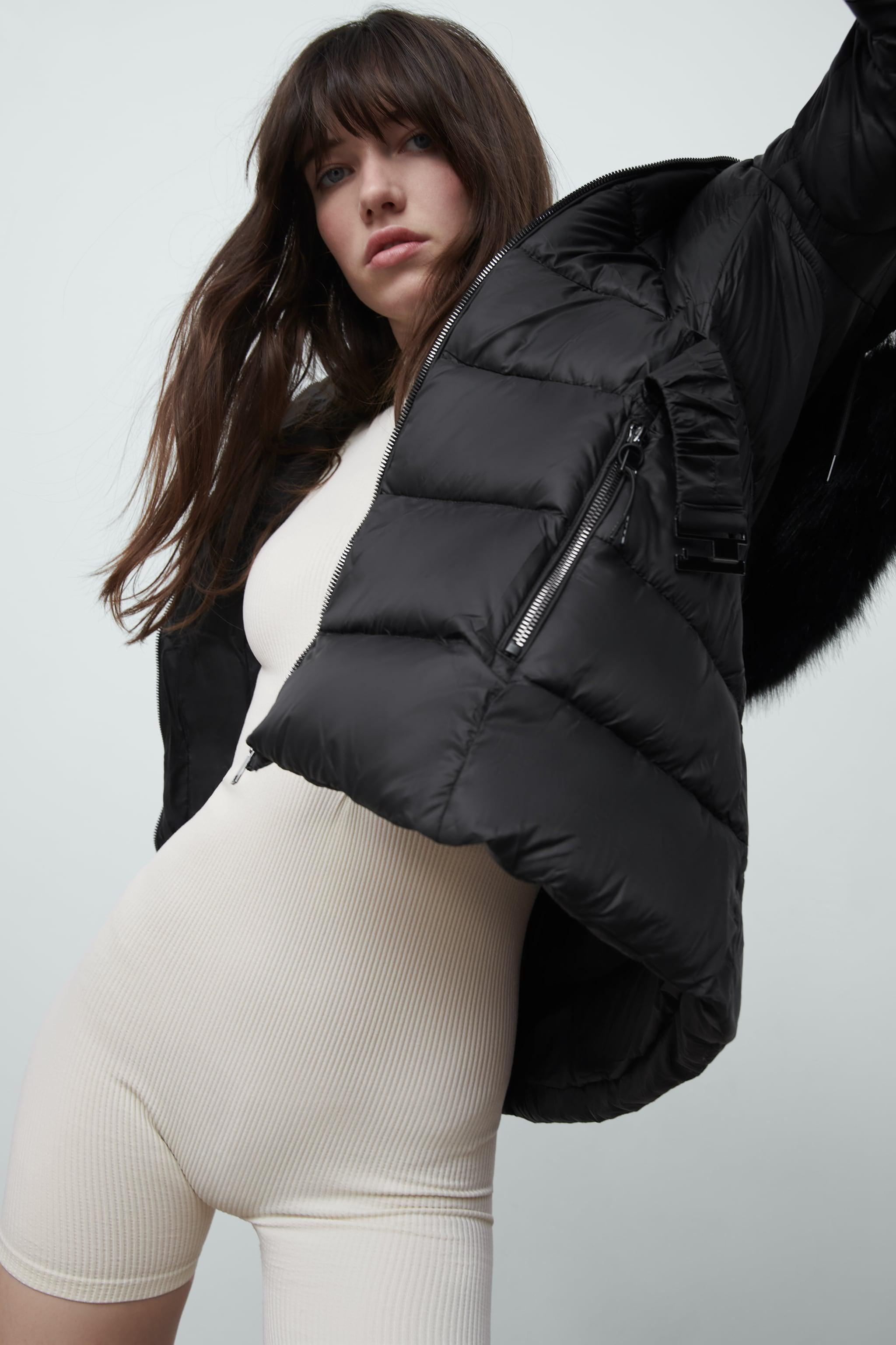 DOWN JACKET WITH FAUX FUR HOOD 1