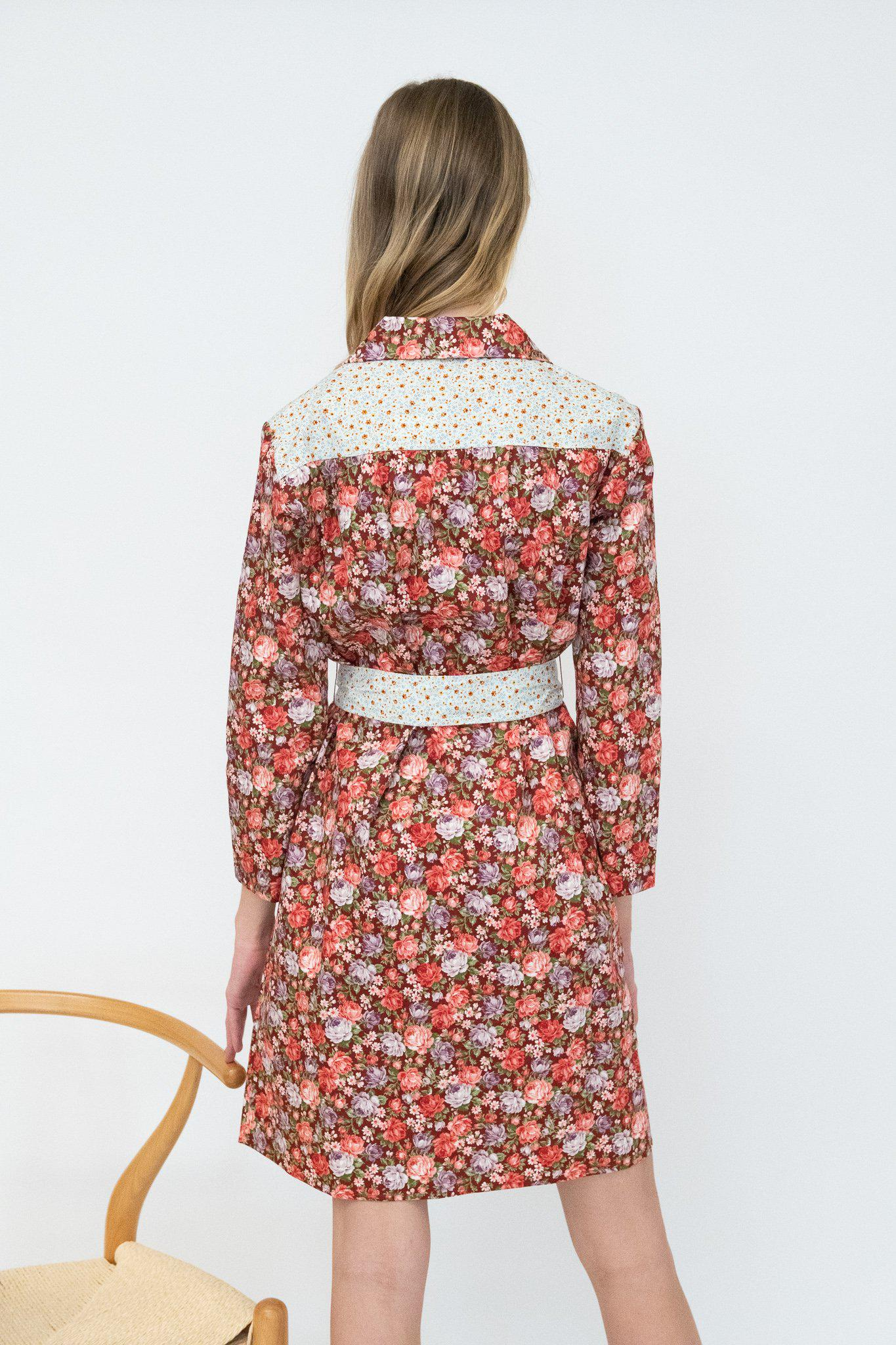 Long Sleeve Housedress in Cabernet Rose and Blue Floral 2