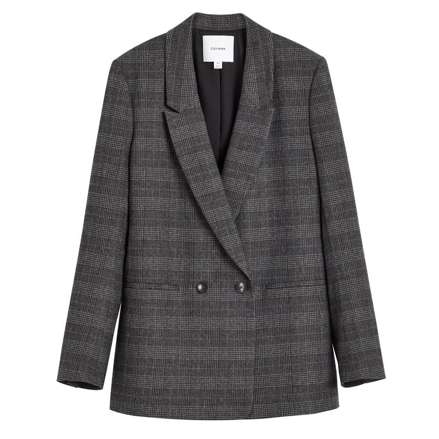Women's Wool Double-Breasted Blazer in Grey Plaid | Size: