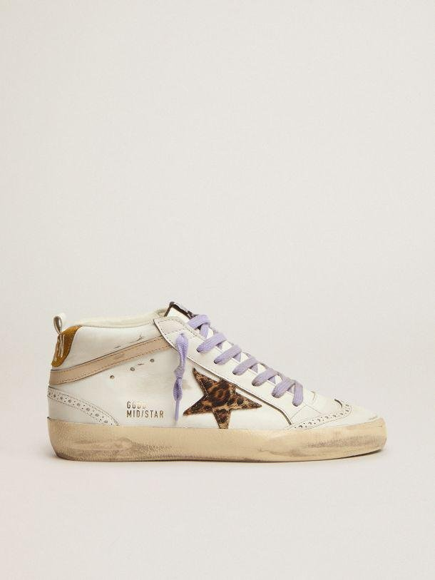 Mid Star sneakers with leopard-print pony skin star and light orange suede heel tab