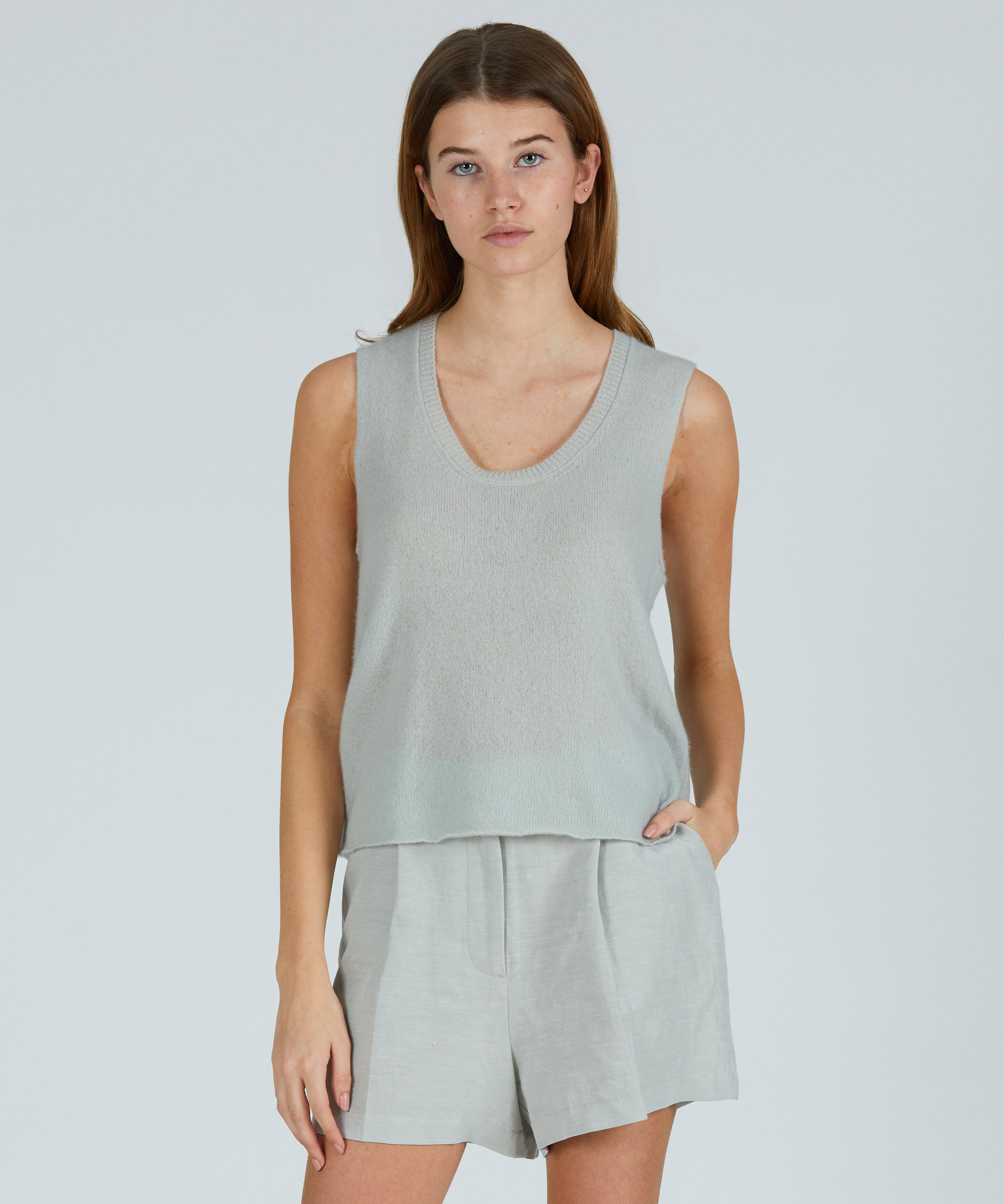 Cashmere Scoop Neck Tank - Frost