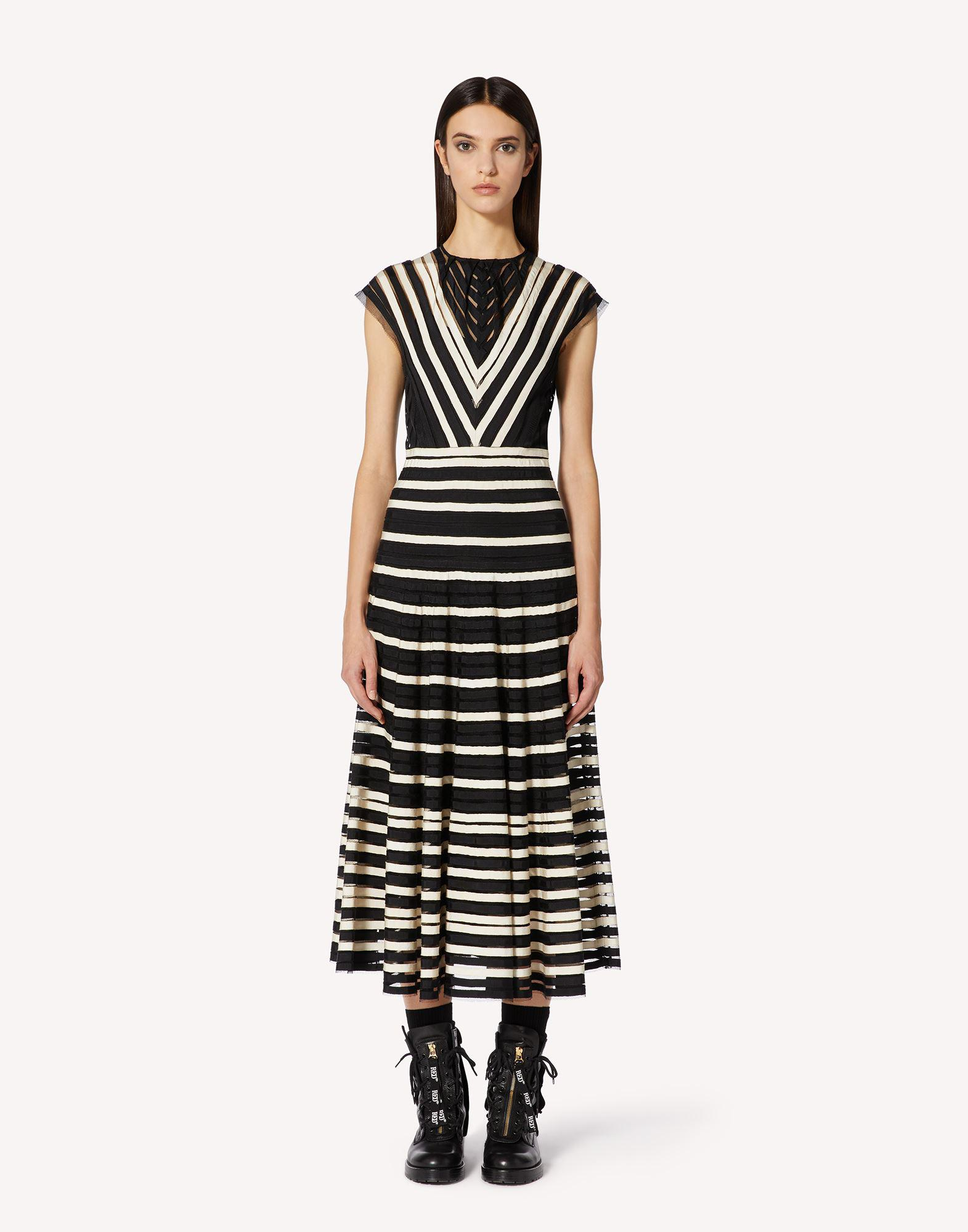 POINT D'ESPRIT TULLE DRESS WITH GROSGRAIN RIBBONS