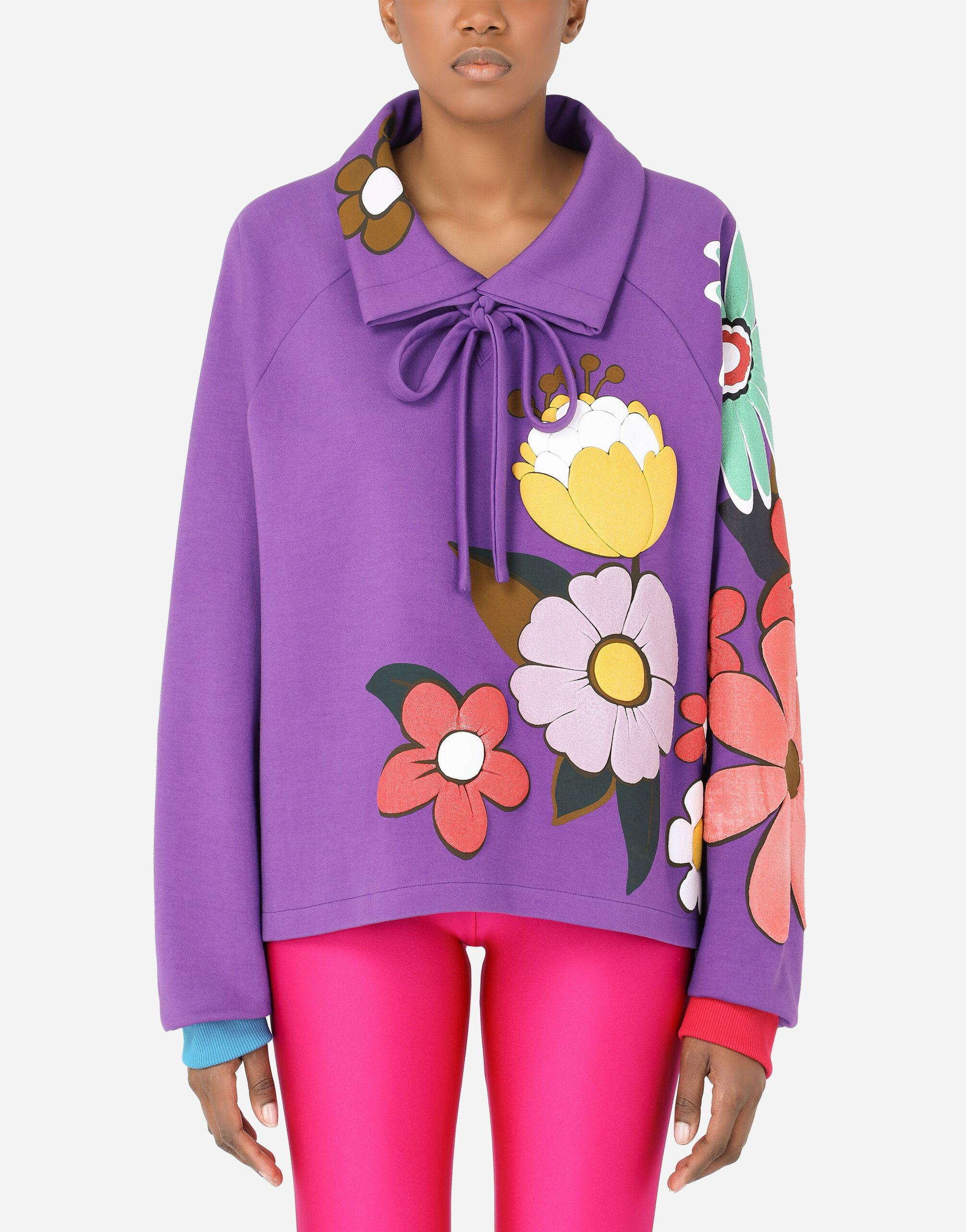 Jersey hoodie with floral patches