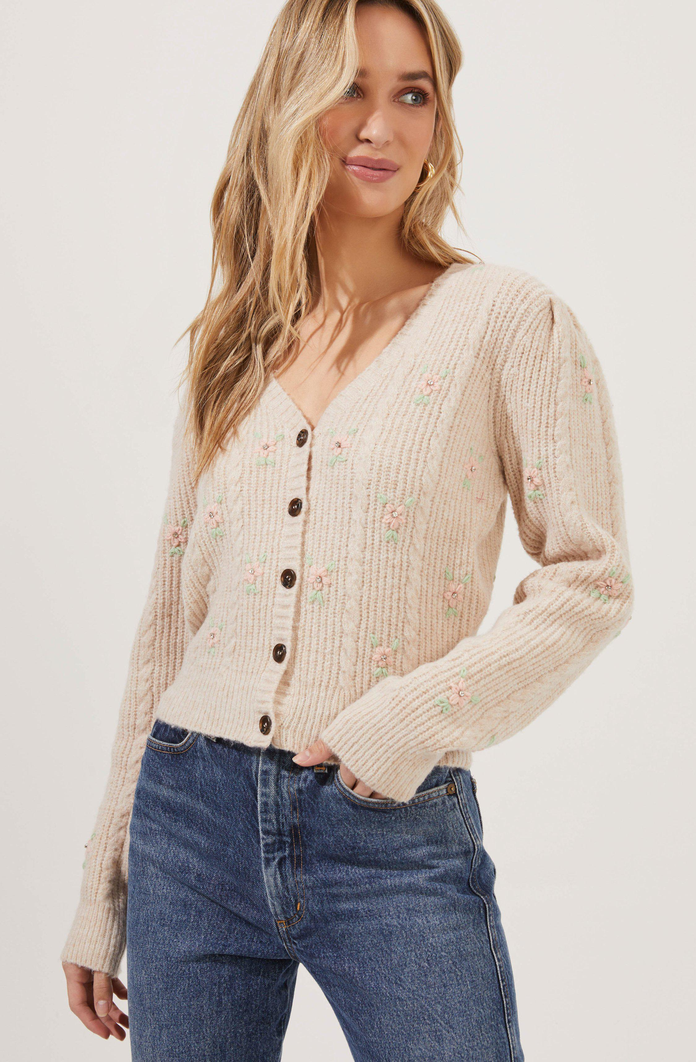 Tea Party Embroidered Flower Cardigan