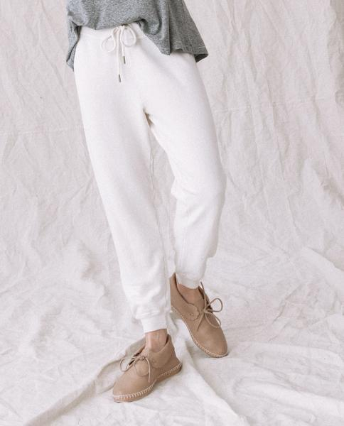 The College Sweatshirt and The Cropped Sweatpant Set. -- Washed White 1