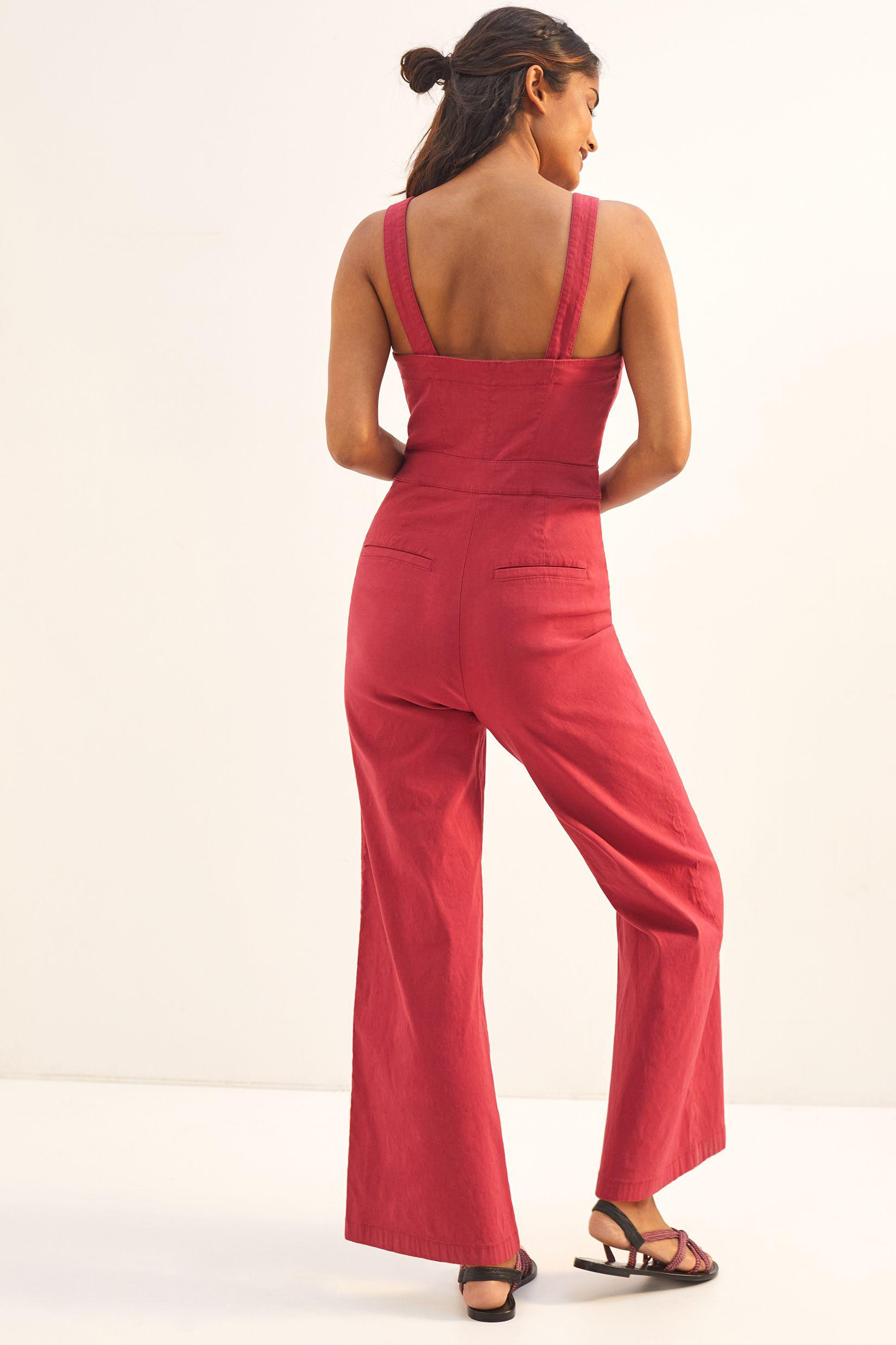 Maeve Colette Cropped Wide-Leg Overalls 2