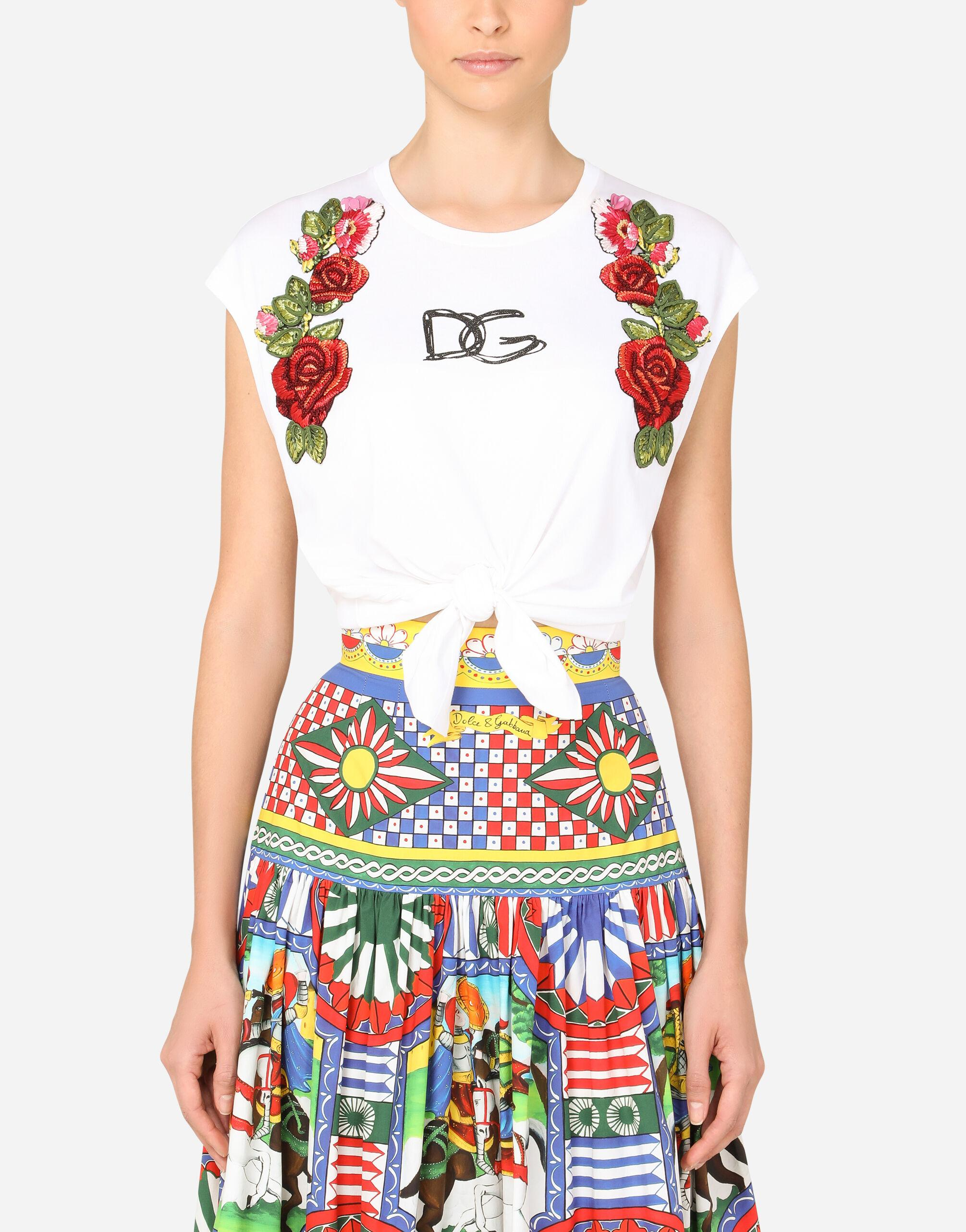 Jersey T-shirt with tie hem and raffia embroidery