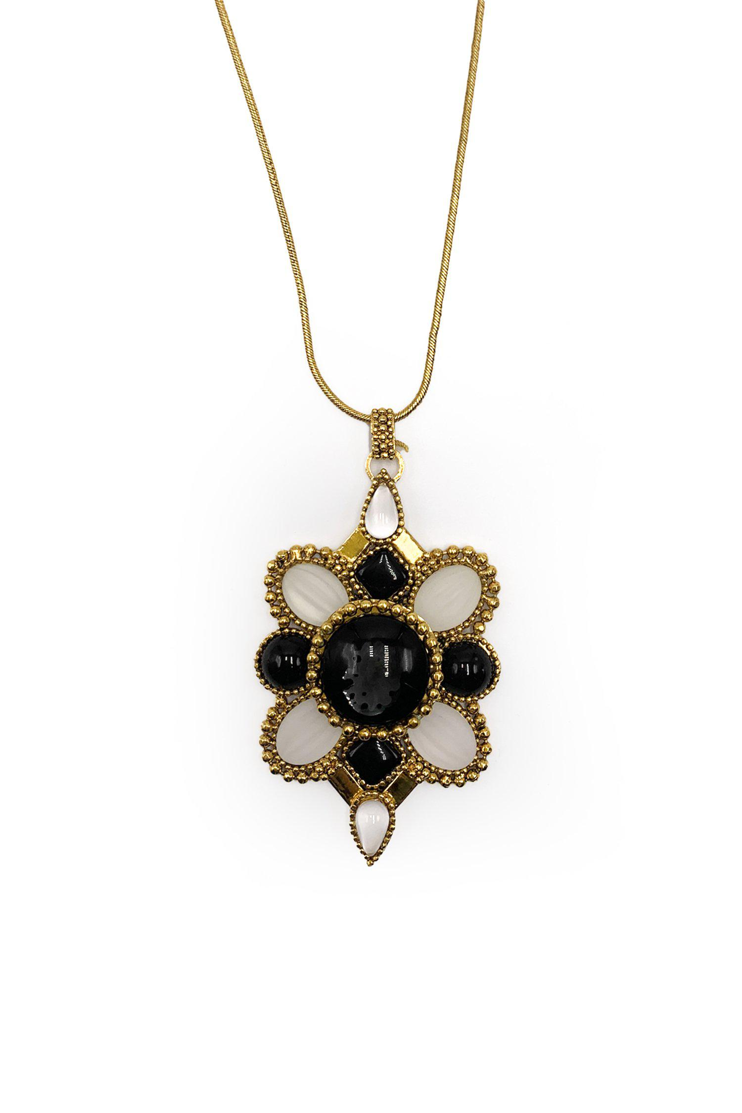 Anna Sui x Erickson Beamon Black and White Long Crest Necklace