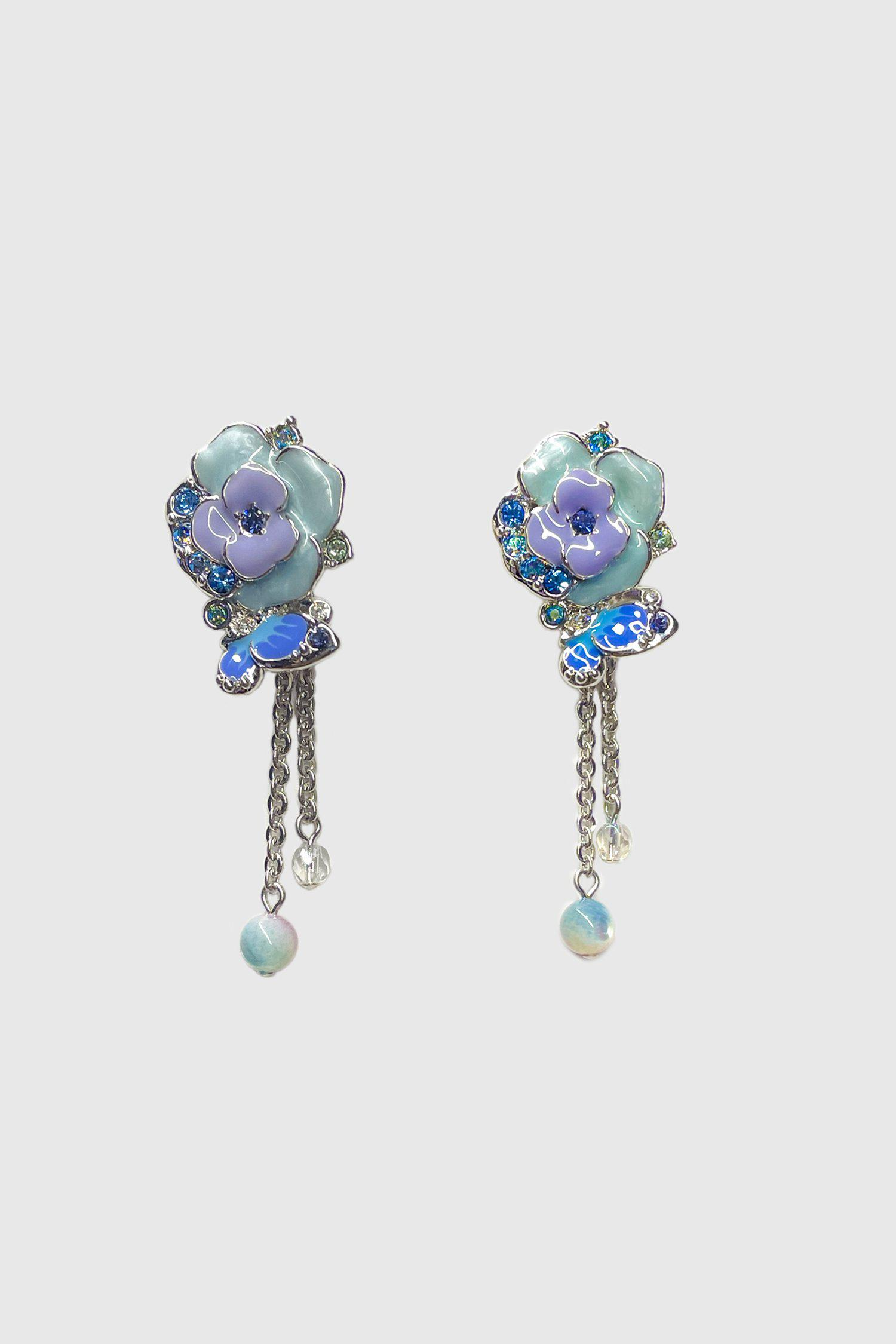 Butterfly and Roses Drop Chain Earrings Blue