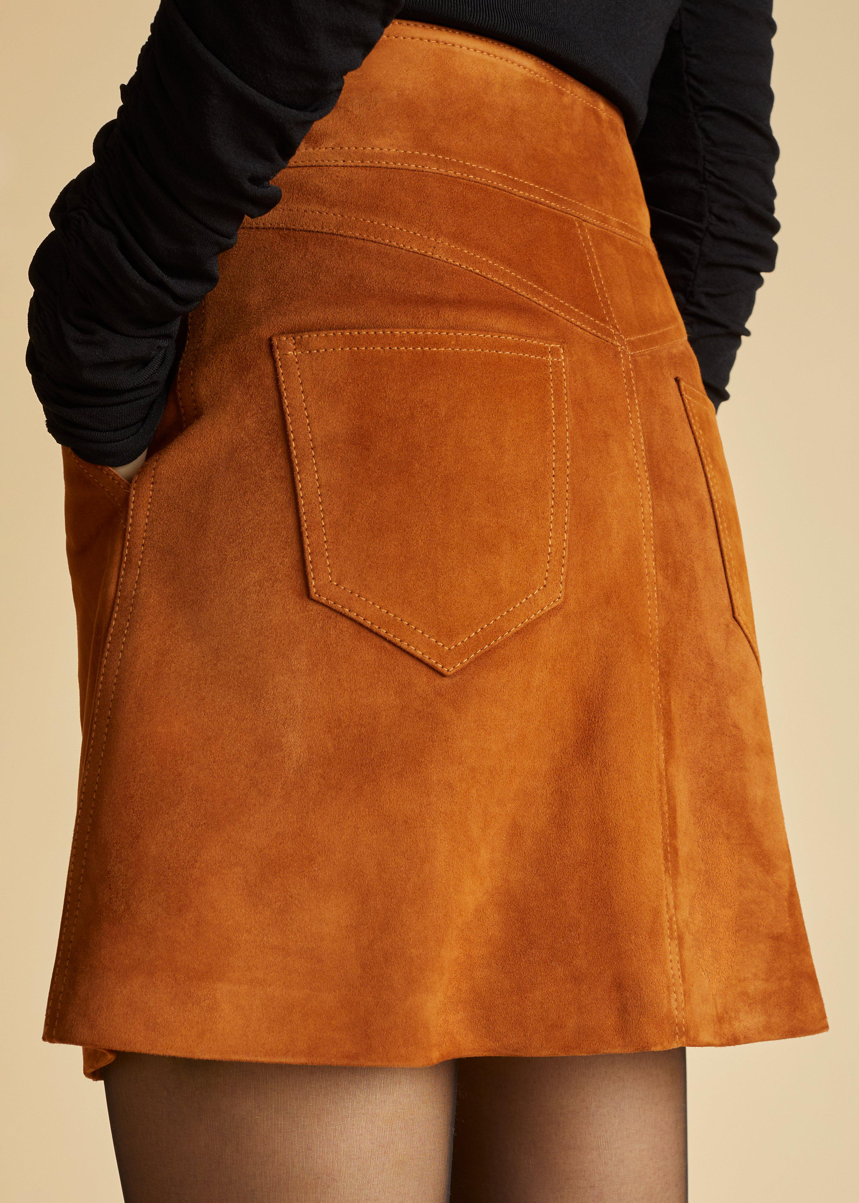 The Giulia Skirt in Chestnut Suede 4