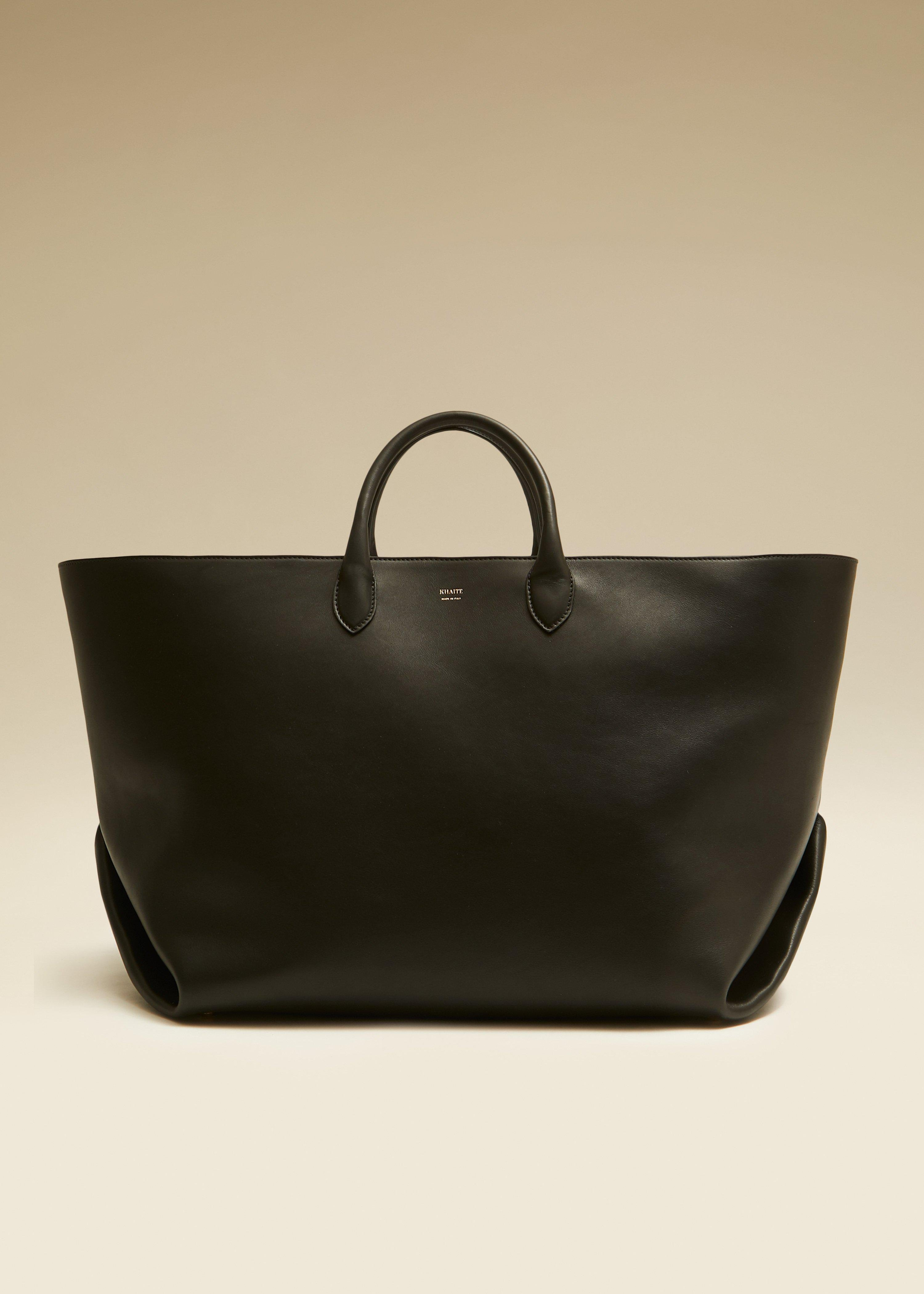 The Large Amelia Tote in Black Leather