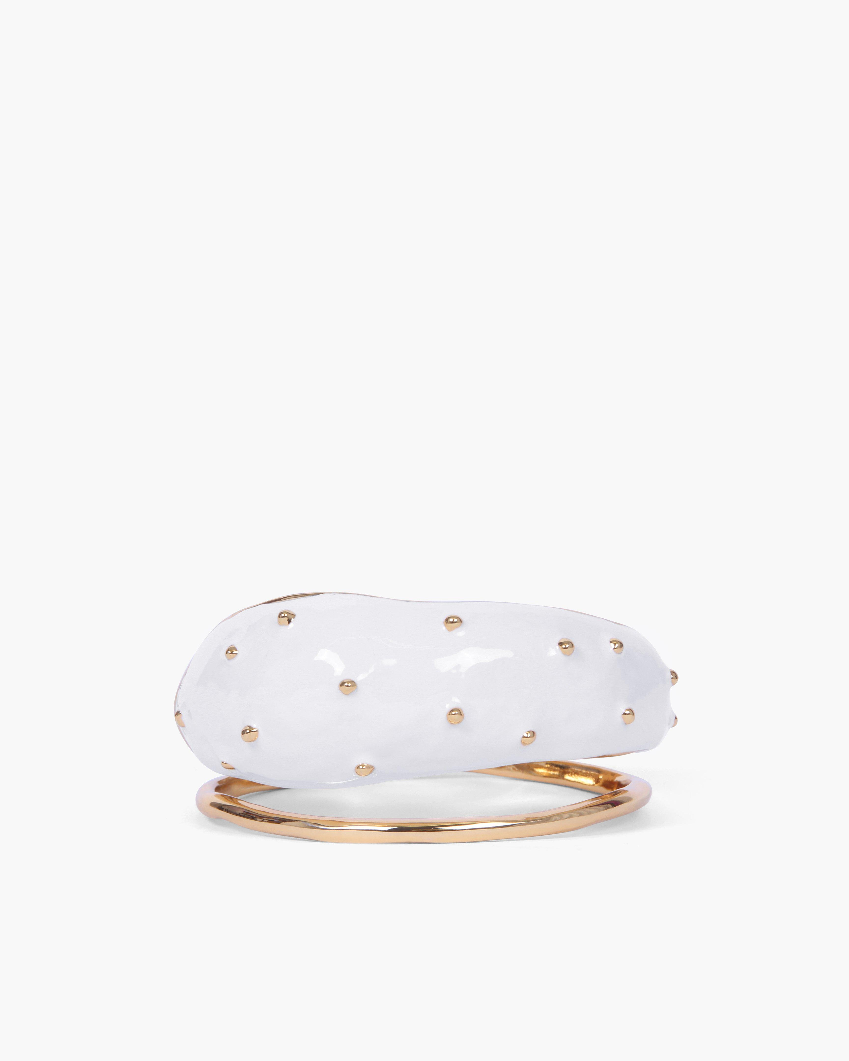 Eden Cuff Gold Plated with Ivory Enamel Boule - SPECIAL PRICE