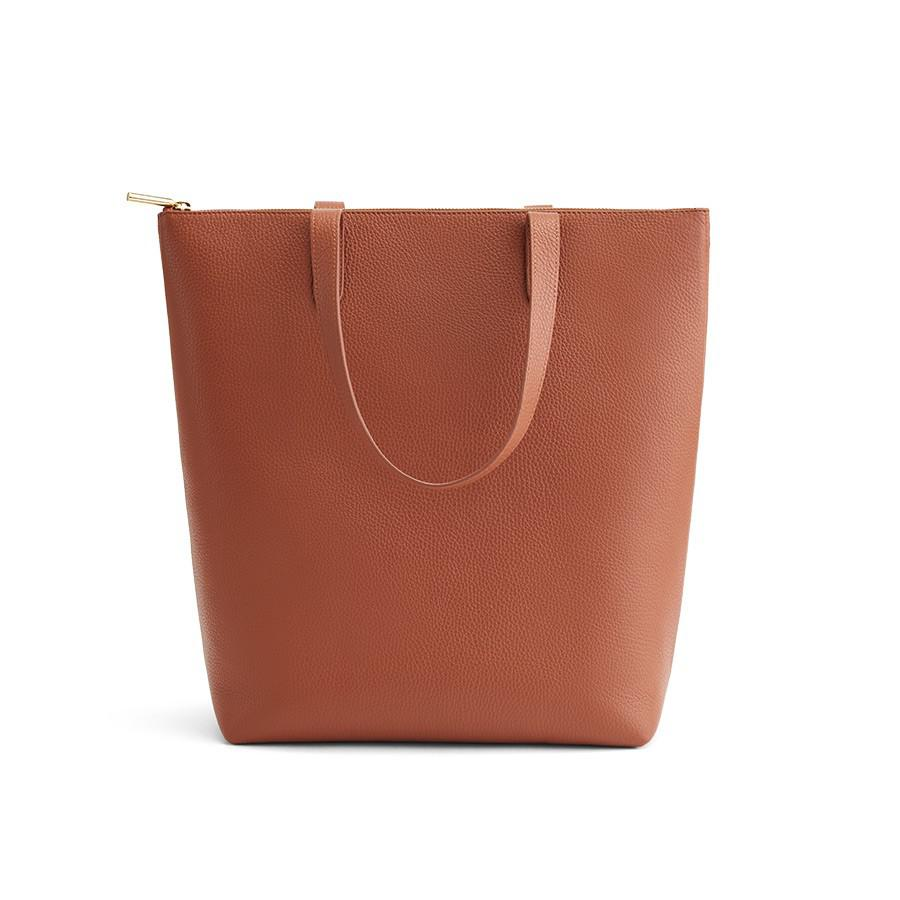 Women's Tall Structured Leather Zipper Tote Bag in Caramel | Pebbled Leather by Cuyana