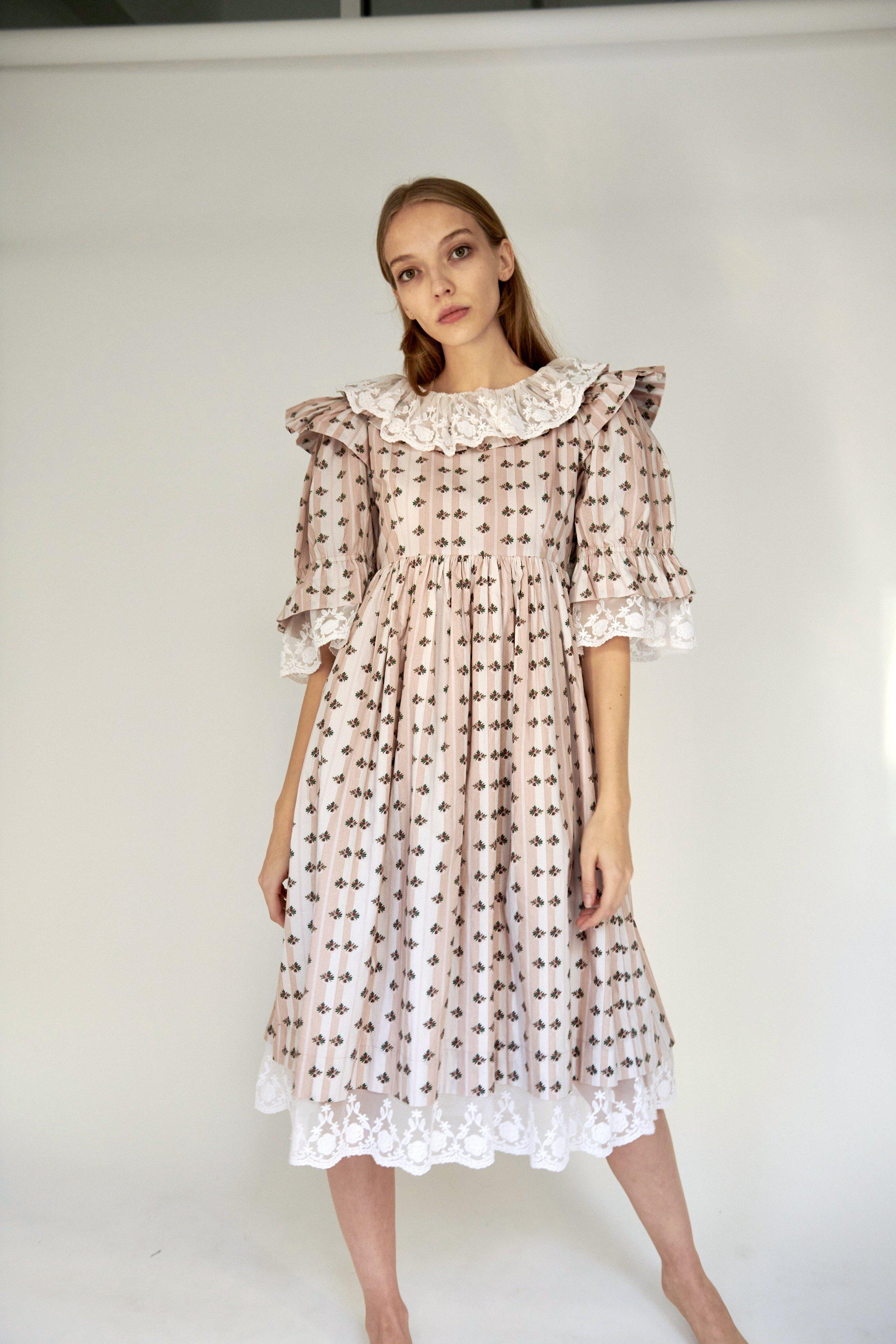 Chamomile Dress in Blush Striped Floral 3