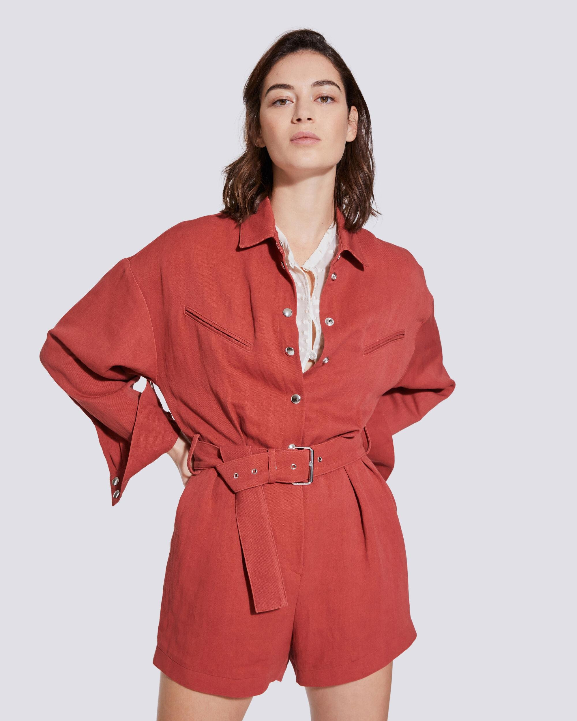 AMBROCIO LONG SLEEVE BELTED JUMPSUIT
