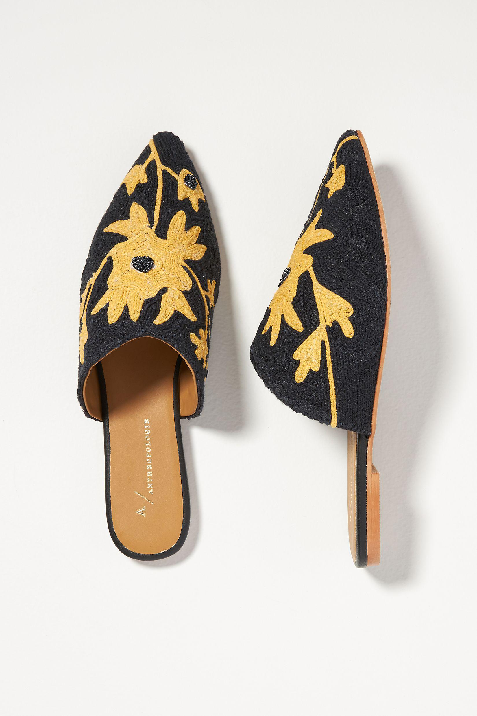 Embroidered Floral Mules