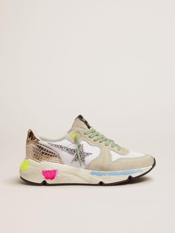 Running Sole sneakers in suede with glitter and leopard print