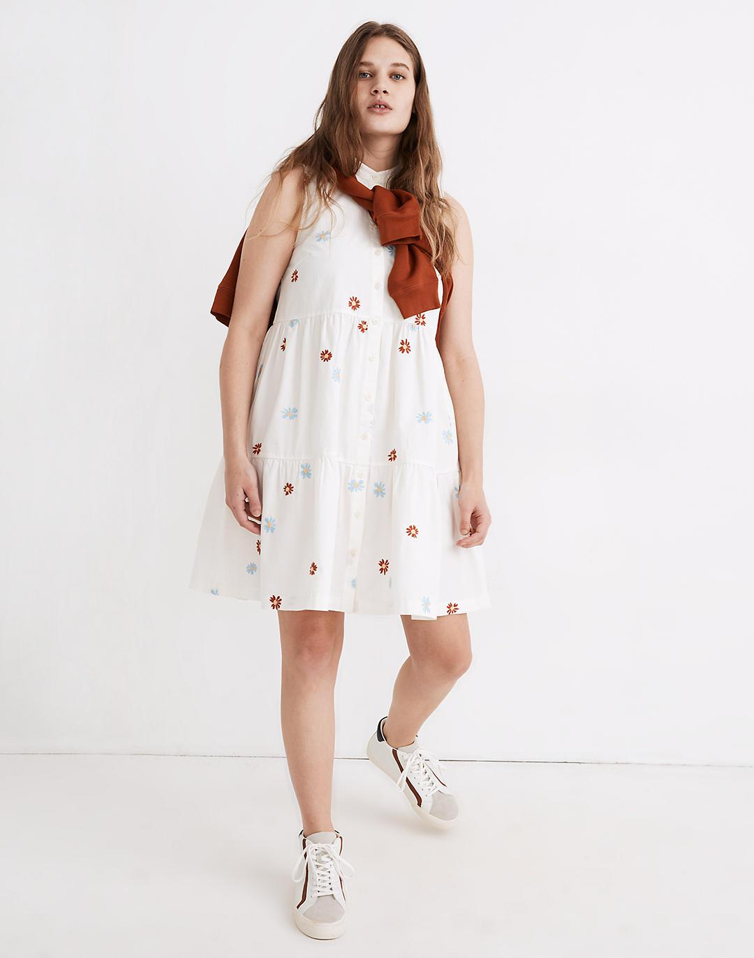 Daisy Embroidered Banded-Collar Tiered Dress