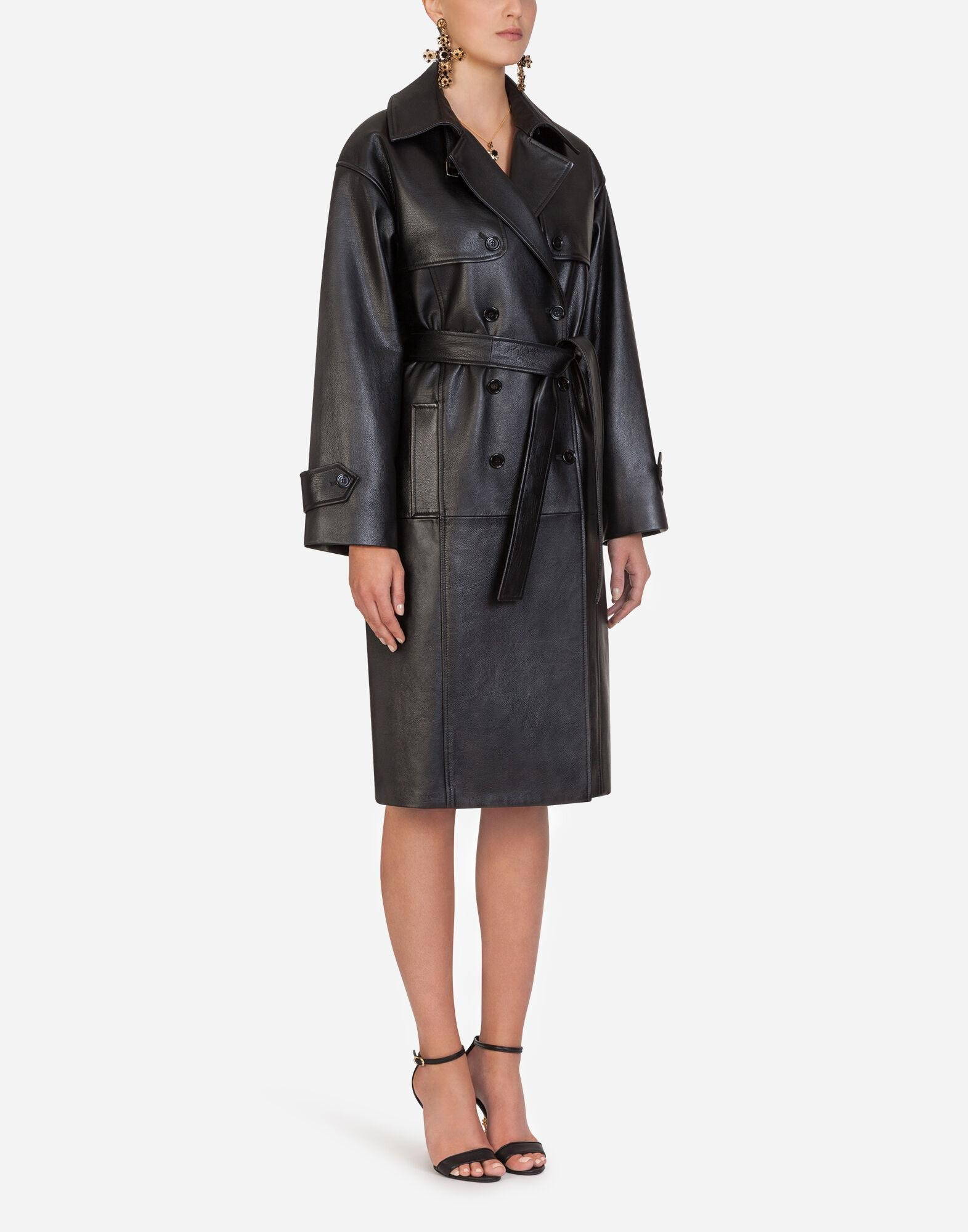 Double-breasted leather belted coat