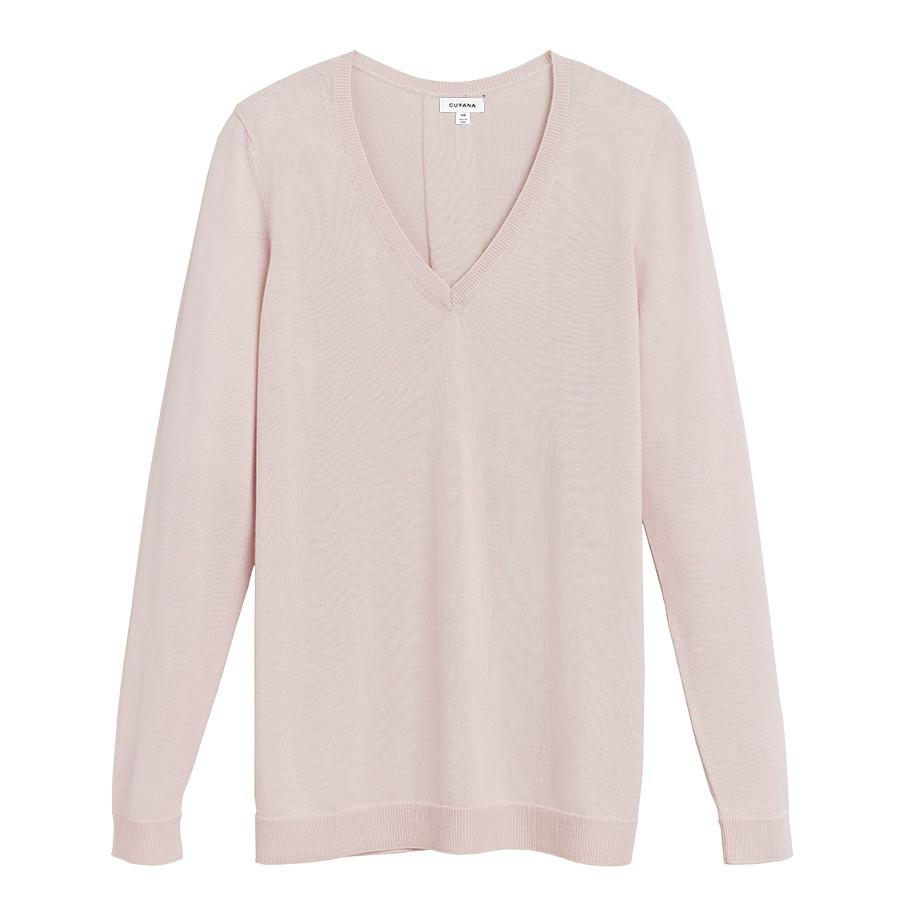 Women's Classic Cotton Cashmere V-Neck Sweater in Blush Pink | Size: