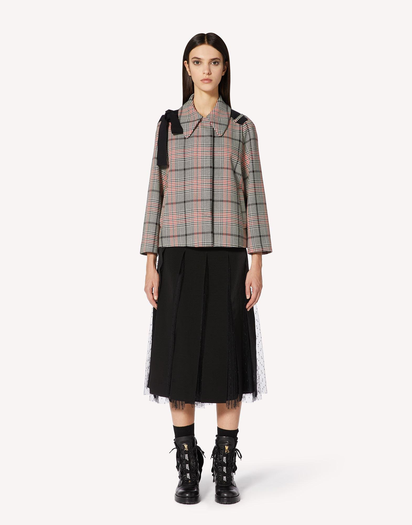 FANCY CHECK JACKET WITH BOW DETAIL
