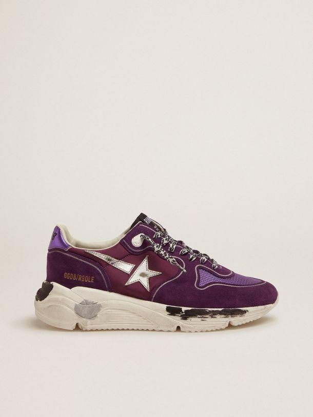 Suede, leather and mesh Running Sole sneakers with metallic purple heel tab