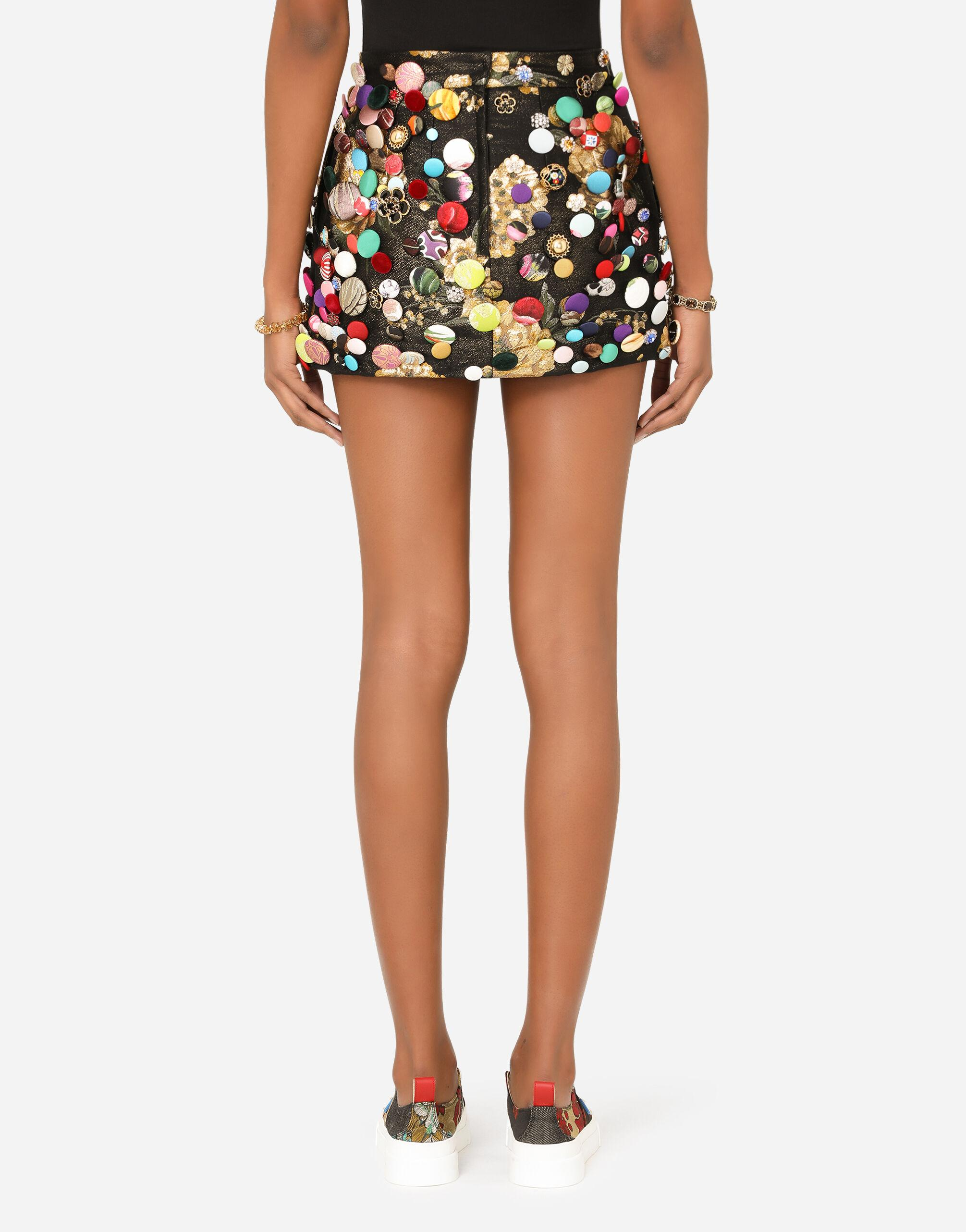 Jacquard miniskirt with all-over bejeweled buttons 1