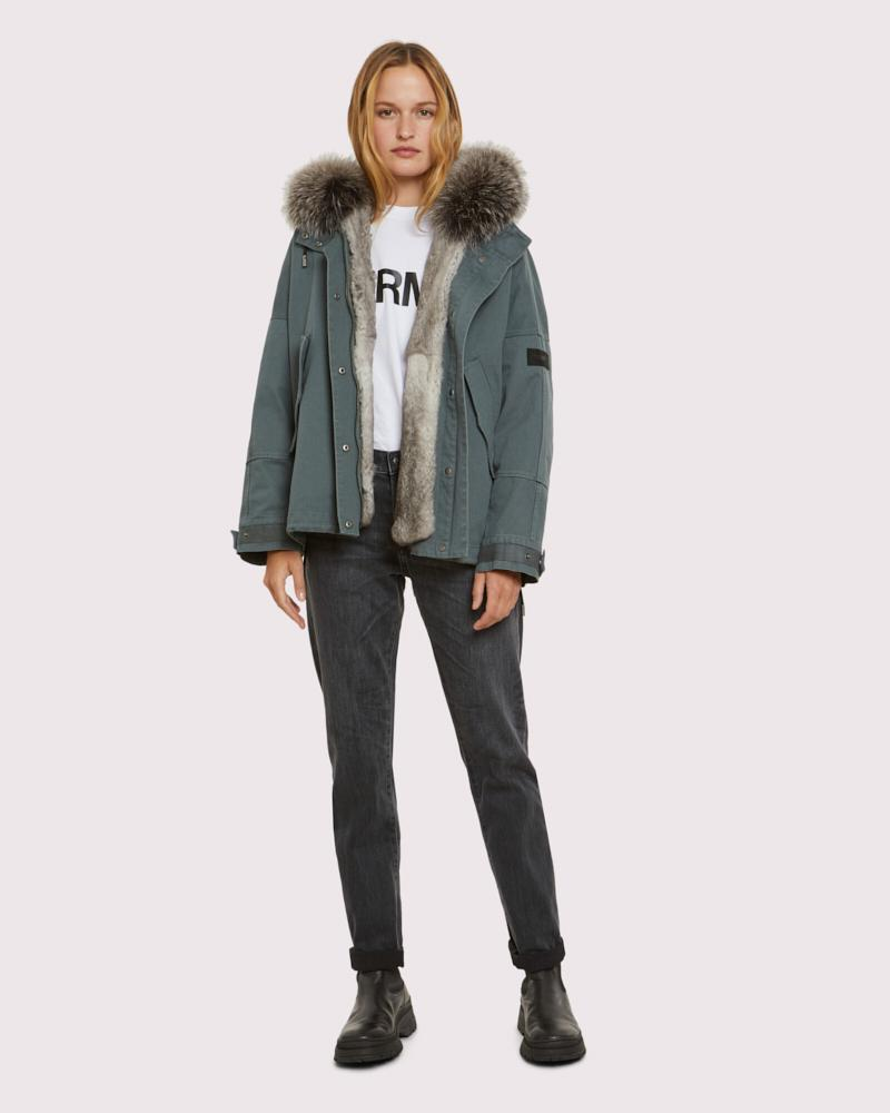 cropped cotton and fur parka