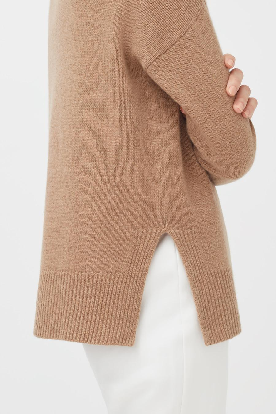 Women's Recycled Crewneck Sweater in Camel | Size: 3