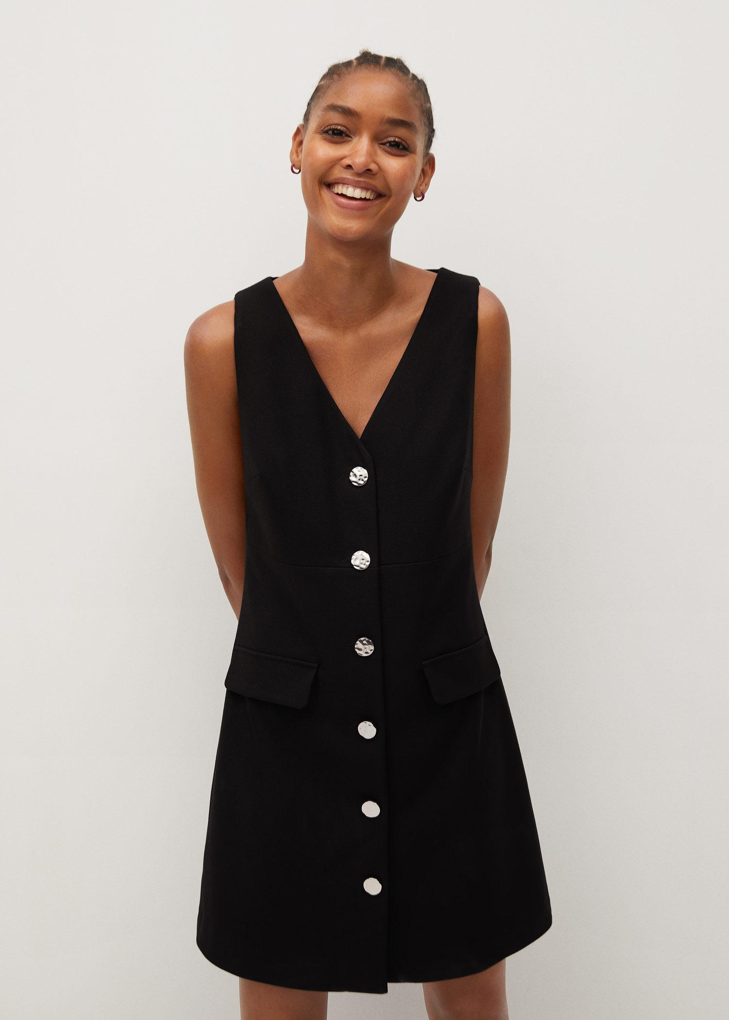 Pinafore dress with buttons