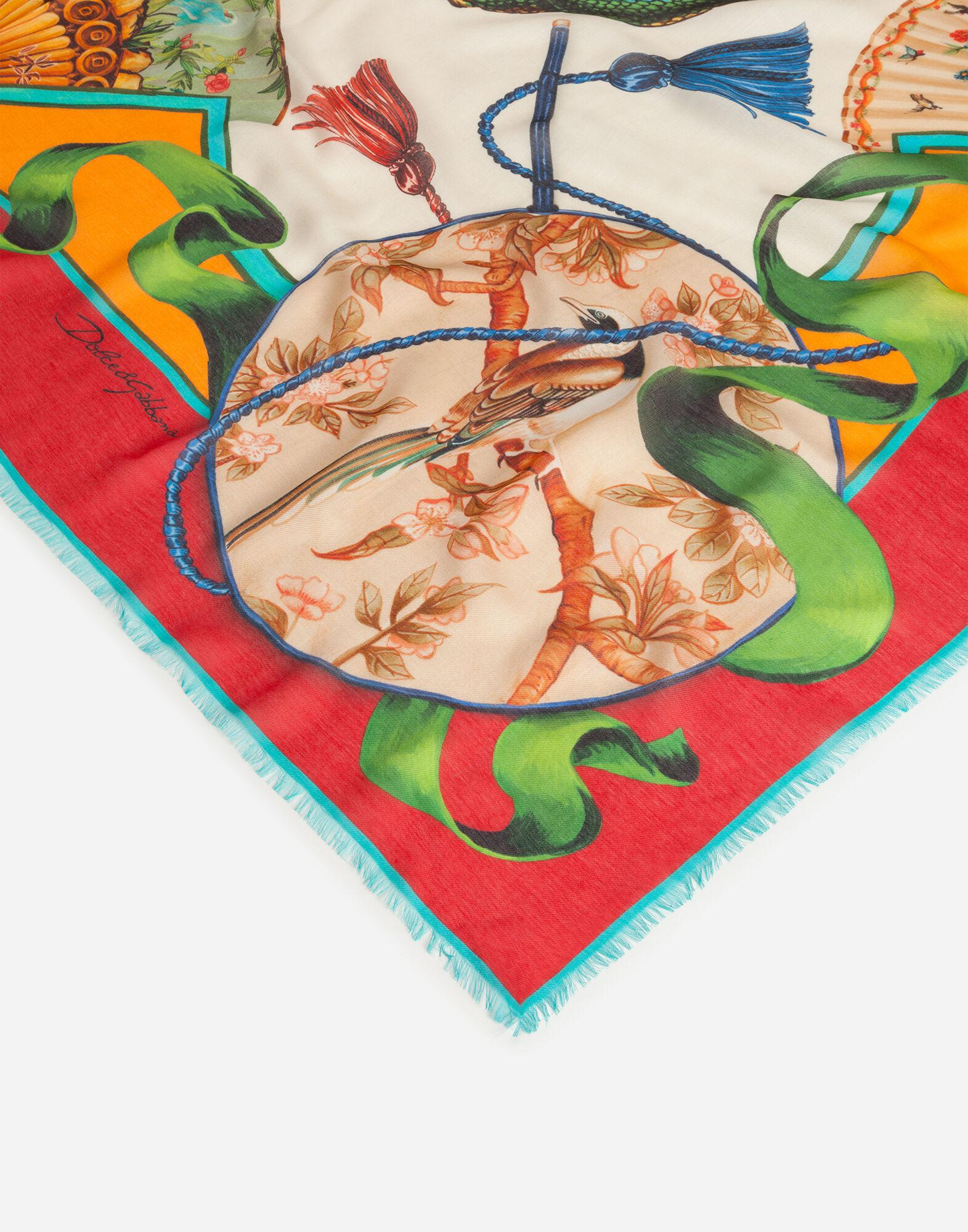 Scarf in modal and cashmere with Silk road print: 140 x 140cm- 55 x 55 inches 2