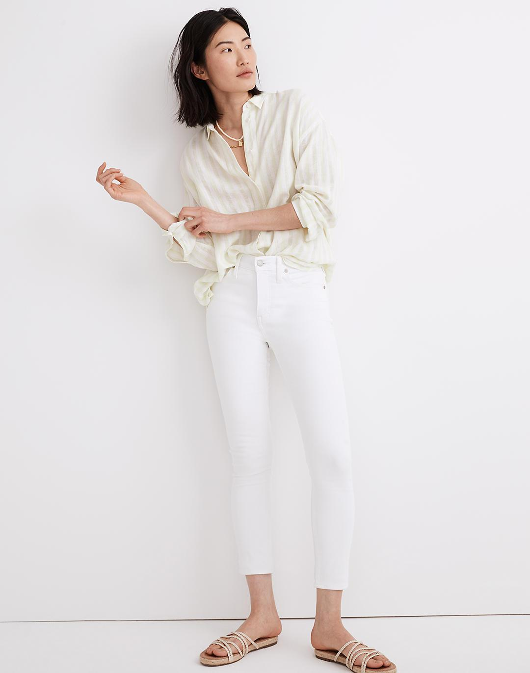 """9"""" Mid-Rise Skinny Crop Jeans in Pure White"""