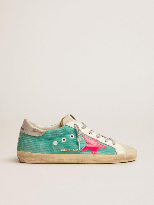 Super-Star sneakers in turquoise suede with corduroy print and fluorescent pink leather star