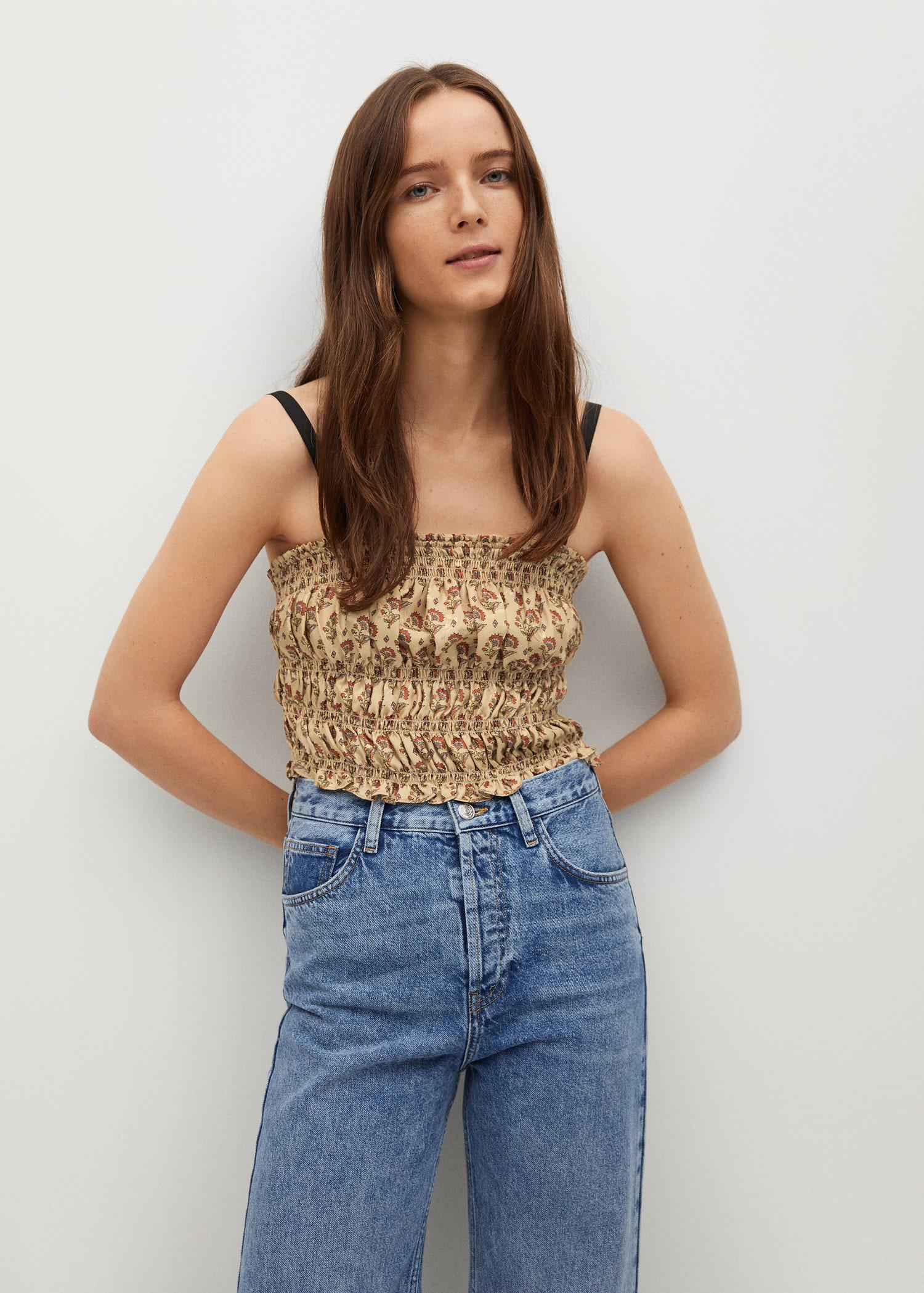 Print ruched top