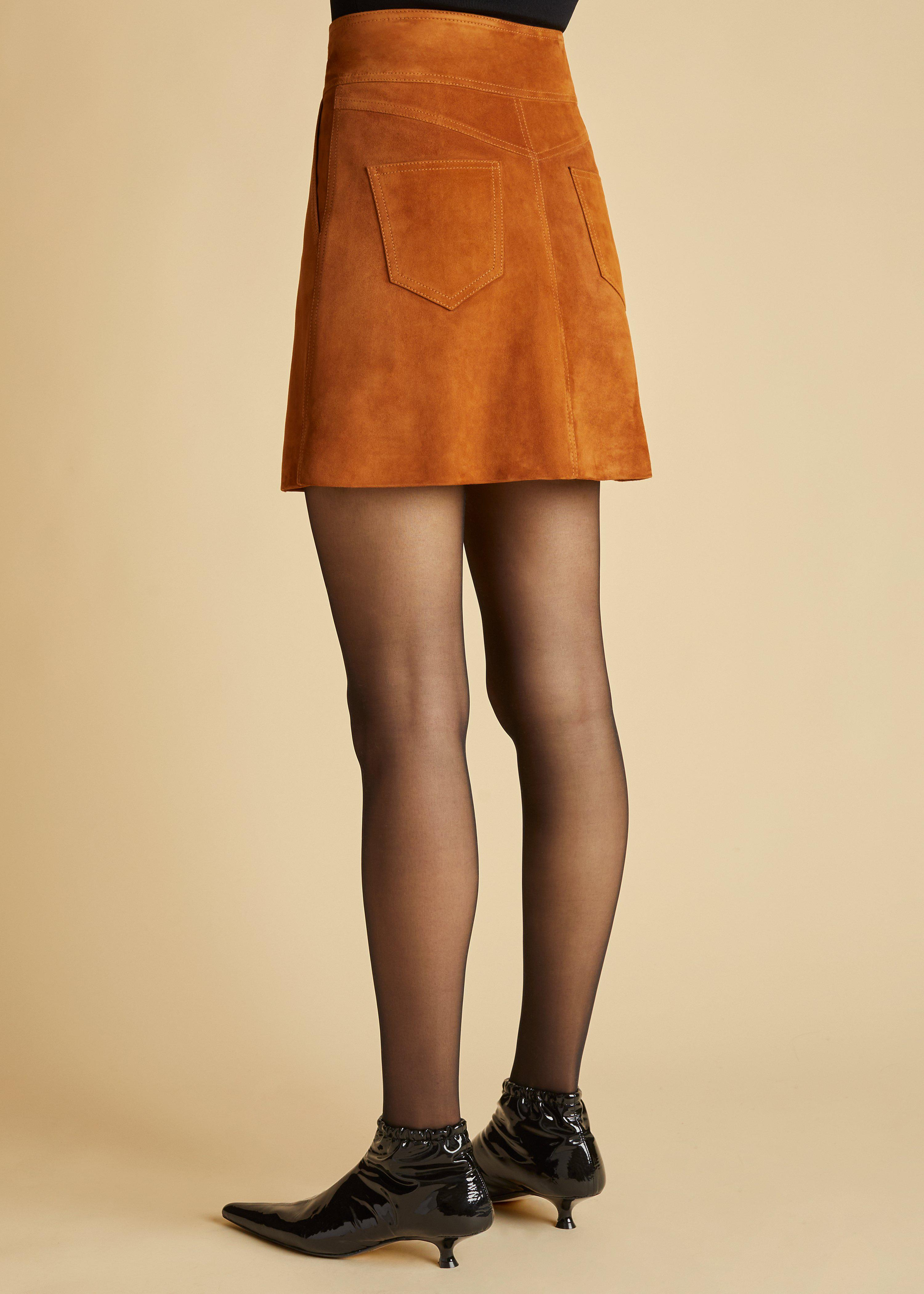 The Giulia Skirt in Chestnut Suede 2