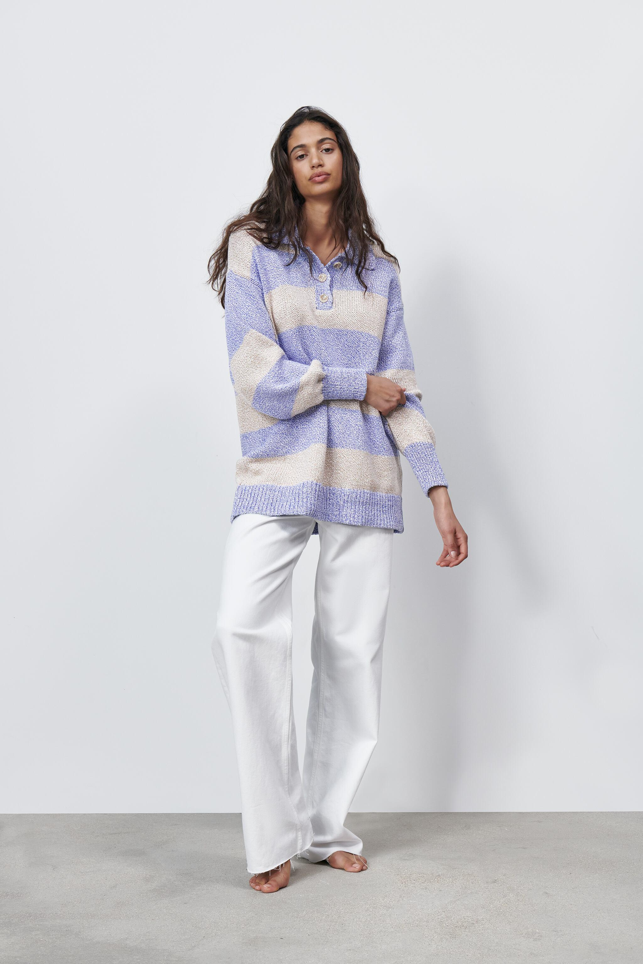 STRIPED OVERSIZED POLO